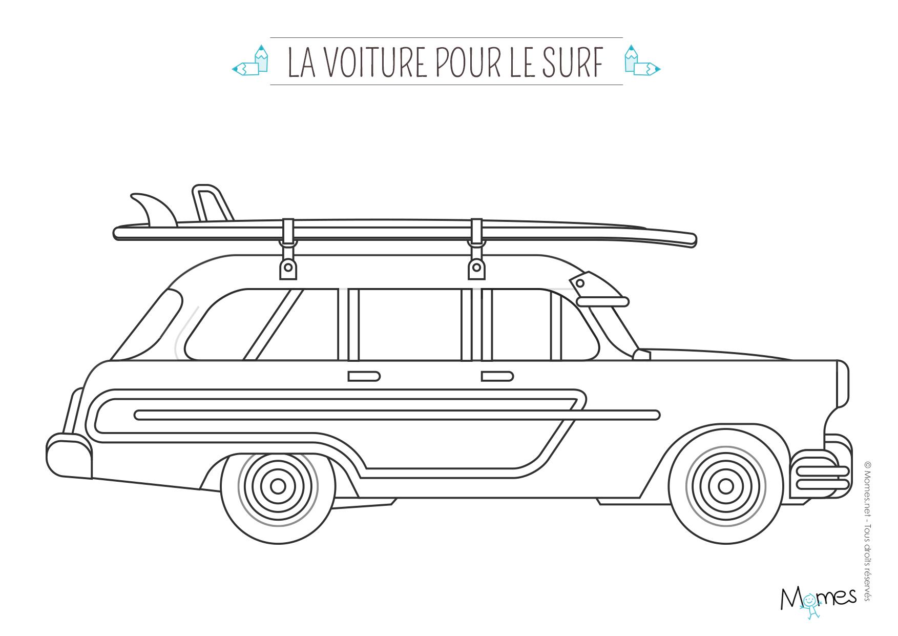 Coloriage La Voiture De Surfeur - Momes serapportantà Coloriage Vehicule