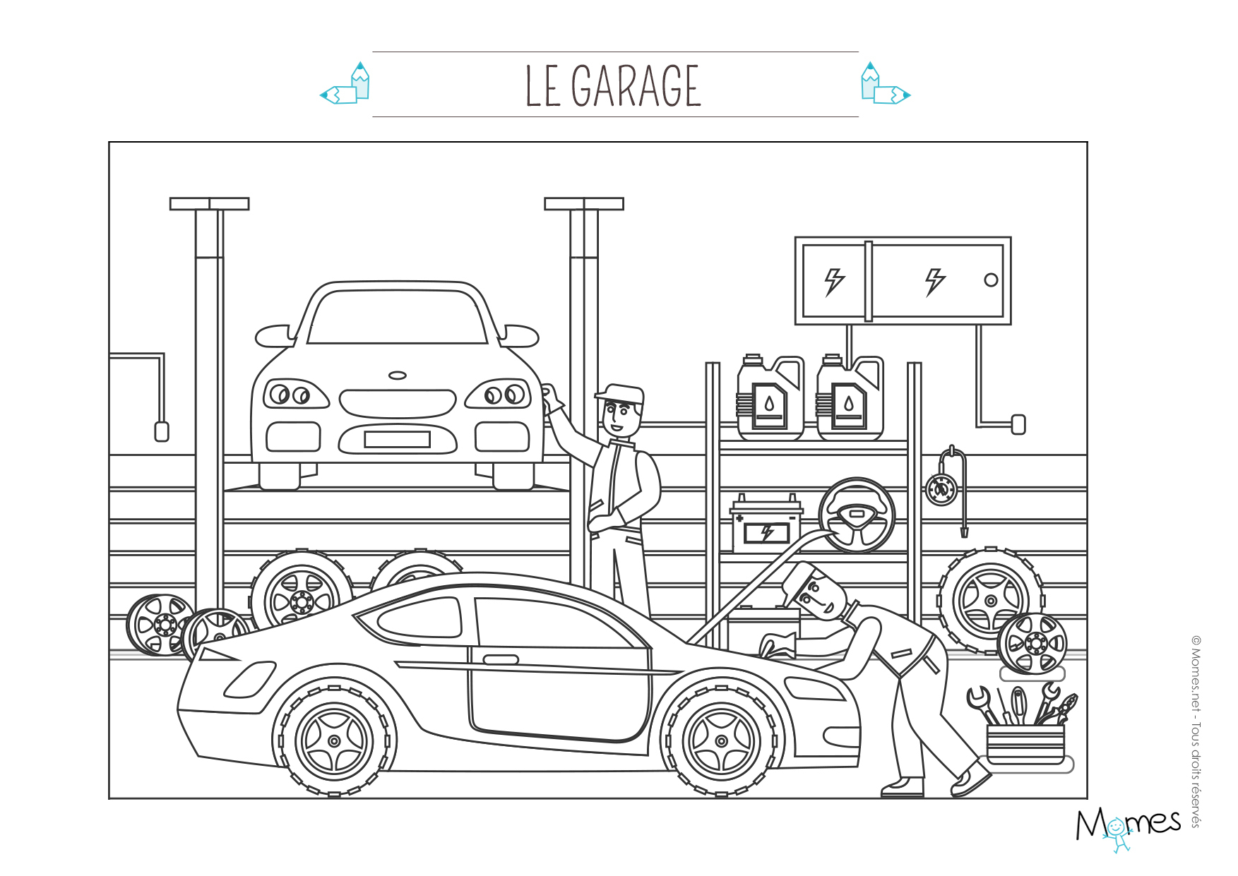 Coloriage Le Garage Automobile - Momes concernant Coloriage Vehicule