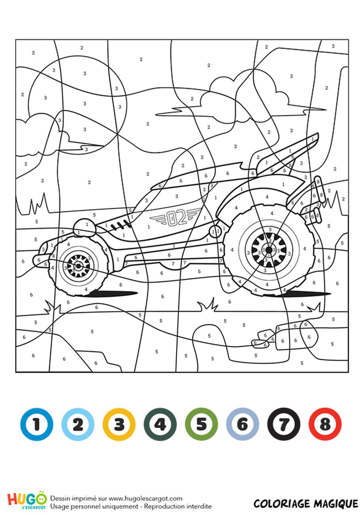 Coloriage Magique Ce1 : Un Buggy encequiconcerne Coloriage Vehicule