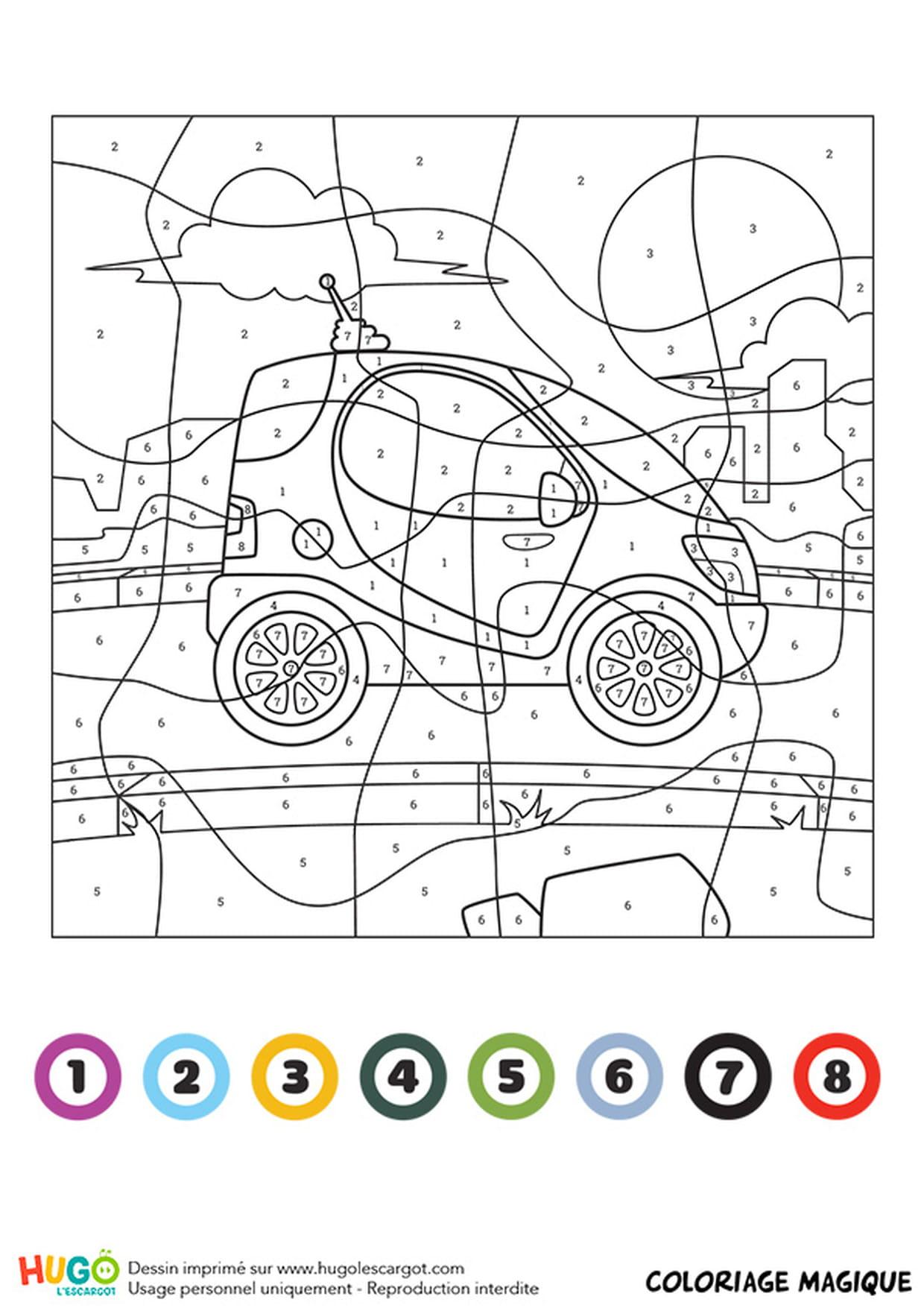 Coloriage Magique Ce1 : Une Mini Voiture encequiconcerne Coloriage Vehicule