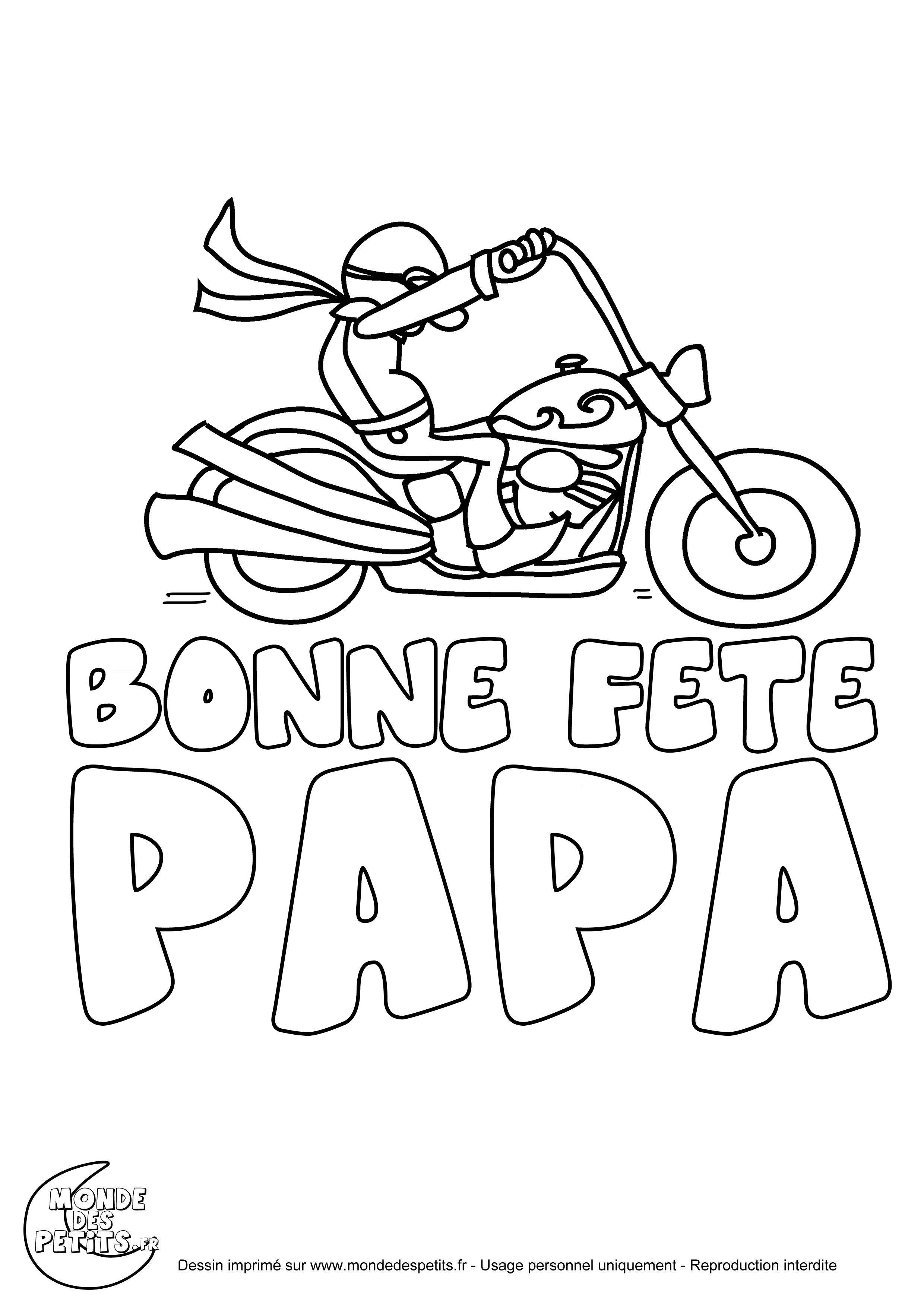 Coloriage Moto Fête Des Pères | Coloriage Fete Des Peres encequiconcerne Coloriage Fete Des Peres