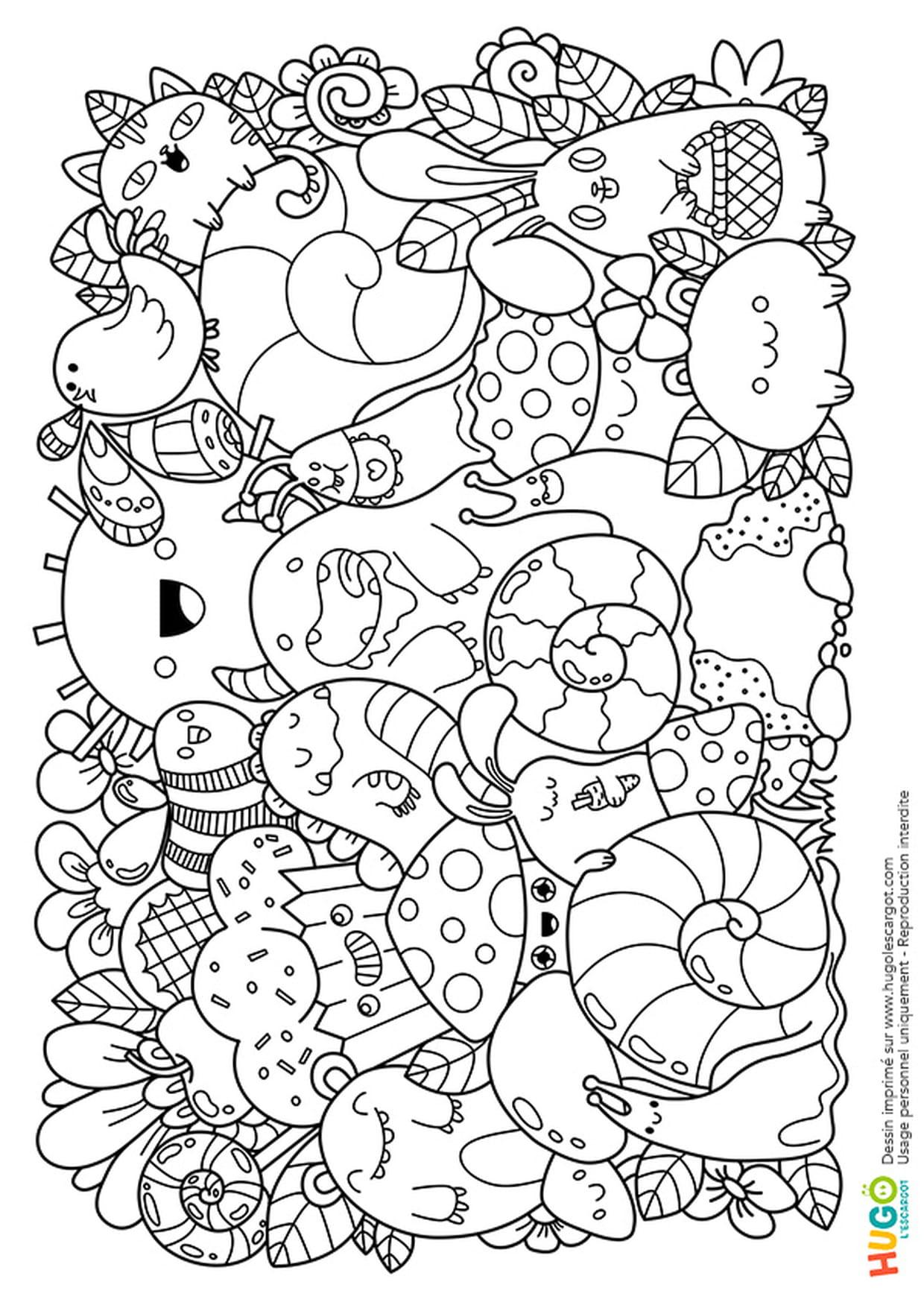 Coloriage Personnages Et Animaux Kawaii En Ligne Gratuit À concernant Coloriage Manga Kawaii