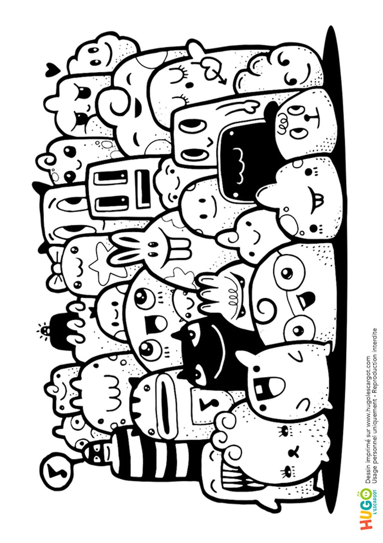 Coloriage Petits Monstres Et Animaux Kawaii En Ligne Gratuit pour Coloriage Manga Kawaii
