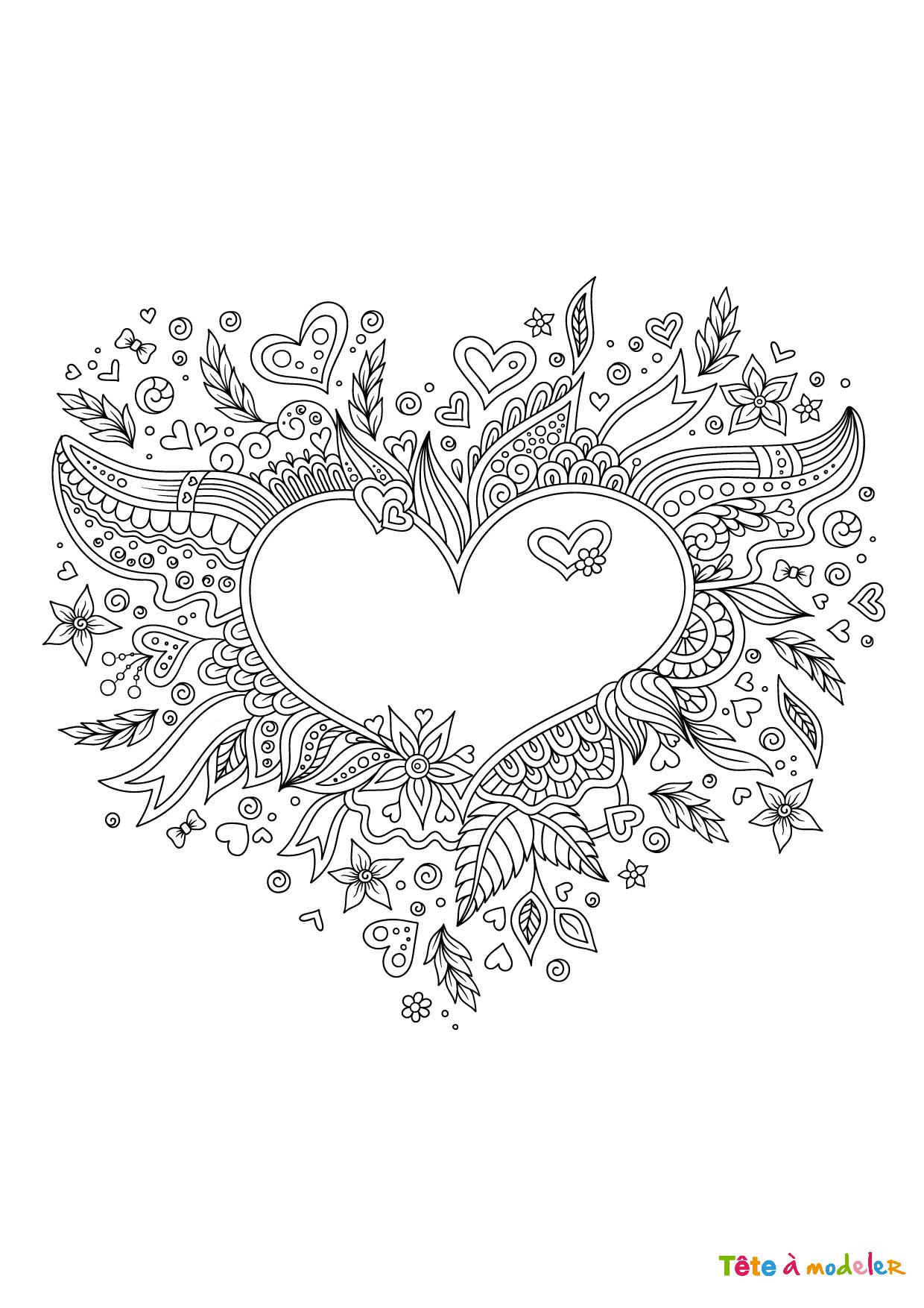 Coloriage Saint Valentin À Imprimer - Tête À Modeler à Dessin Pour La Saint Valentin