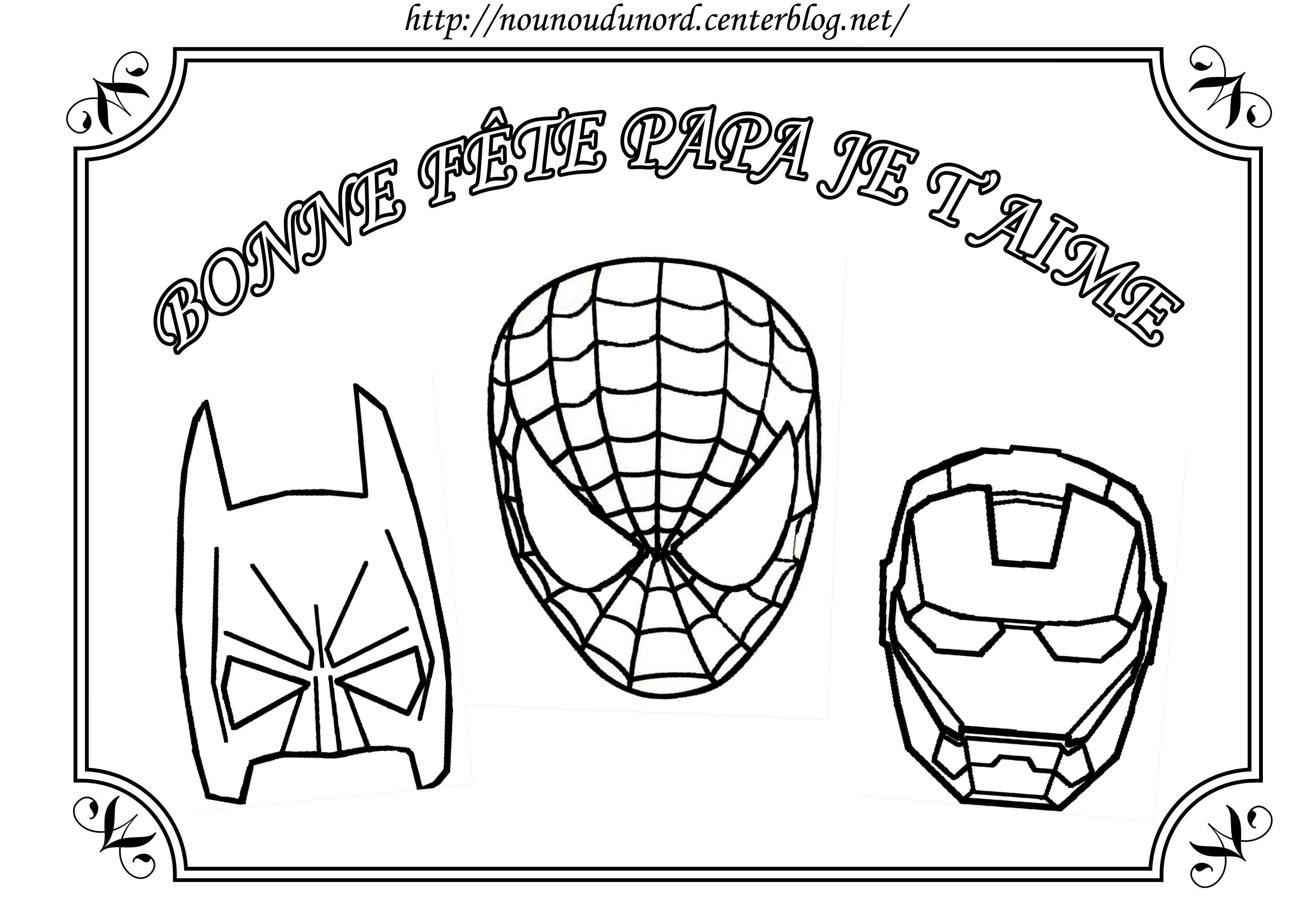 Coloriage Spiderman Batman Pour La Fête Des Pères à Coloriage Fete Des Peres