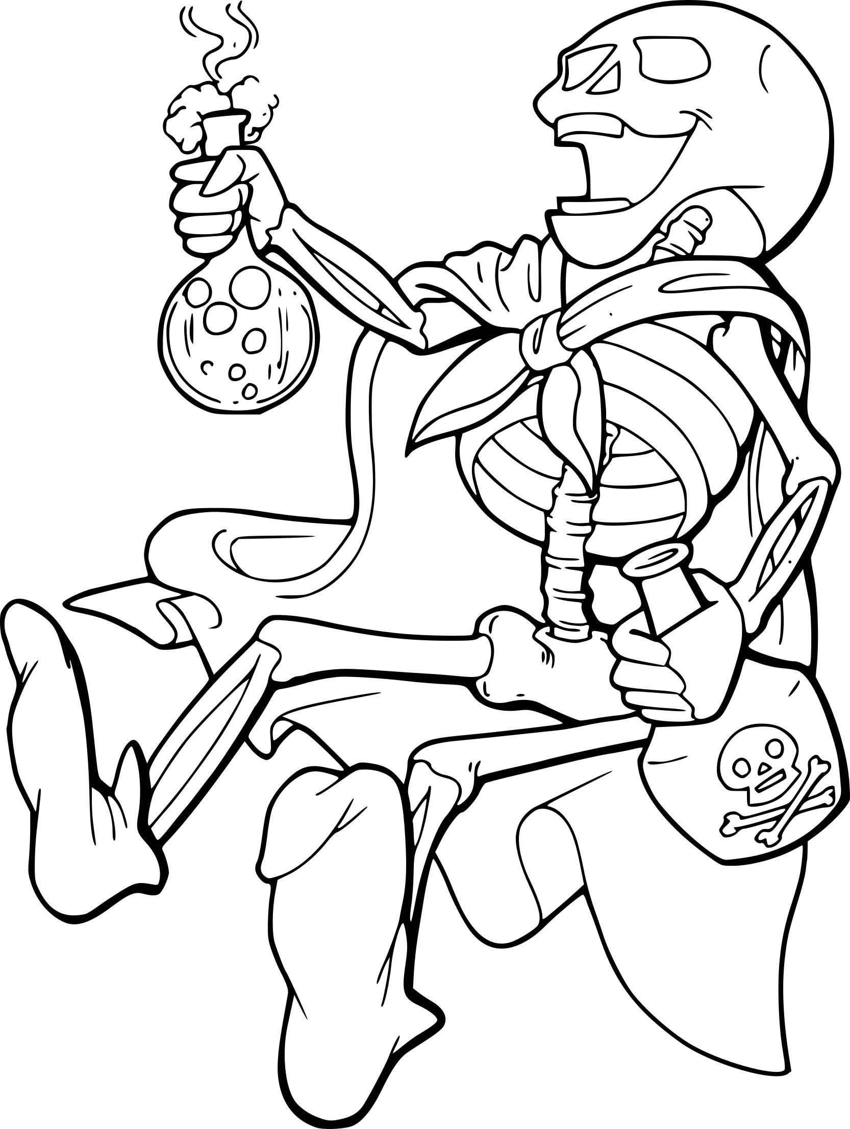 Coloriage Squelette Qui Fait Peur À Imprimer Sur à Squelette A Imprimer