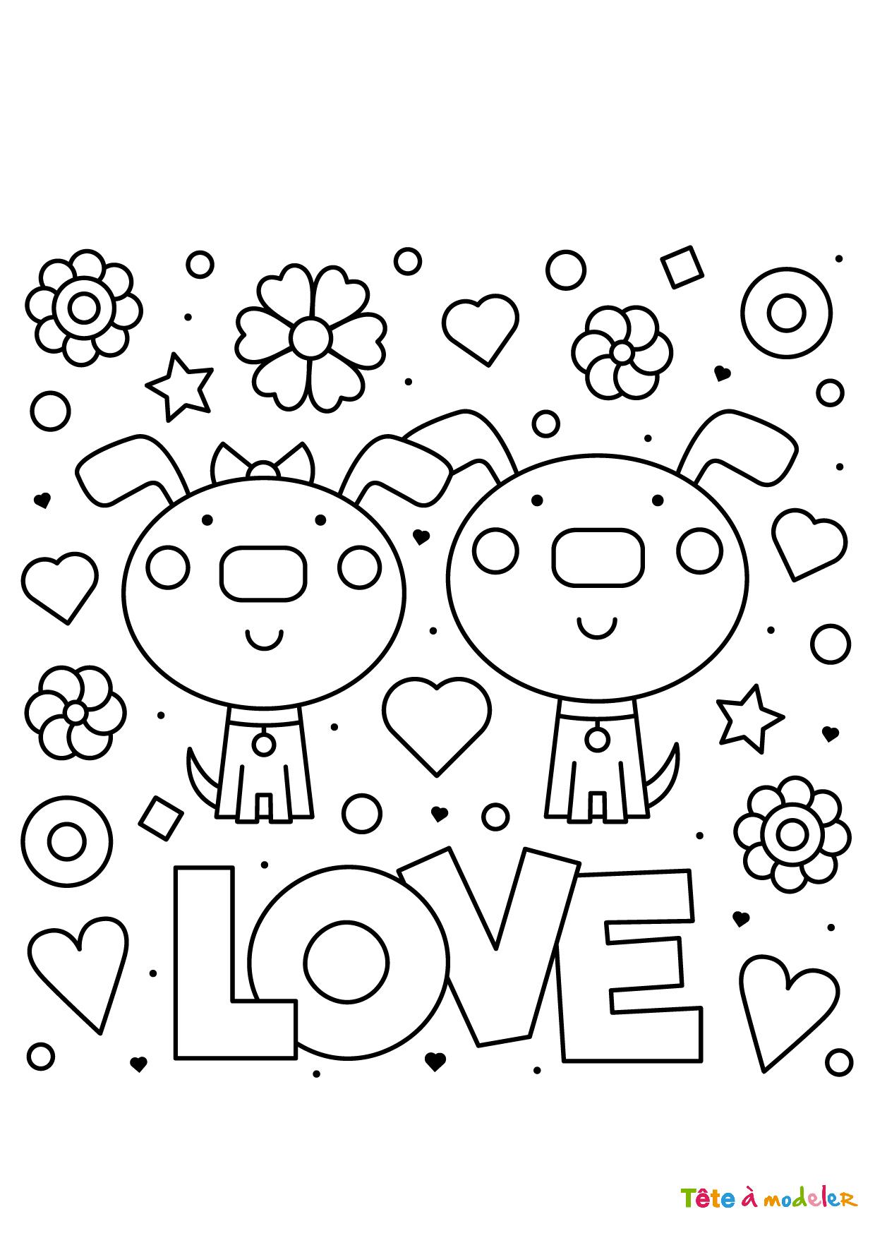Coloriage St Valentin Couple - Tête À Modeler avec Coloriage De St Valentin