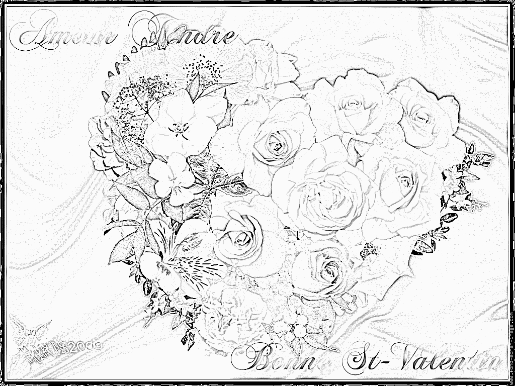 Coloriage St Valentin Turquoise Coeur Roses Fleurs 3 À tout Coloriage De St Valentin