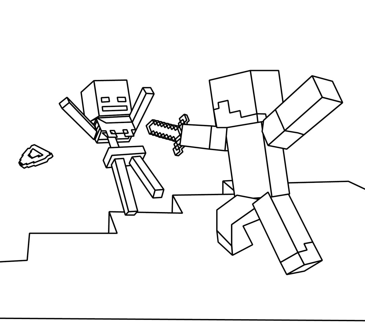 Coloriage Steve Se Battre Avec Squelette Dessin Gratuit À destiné Squelette A Imprimer