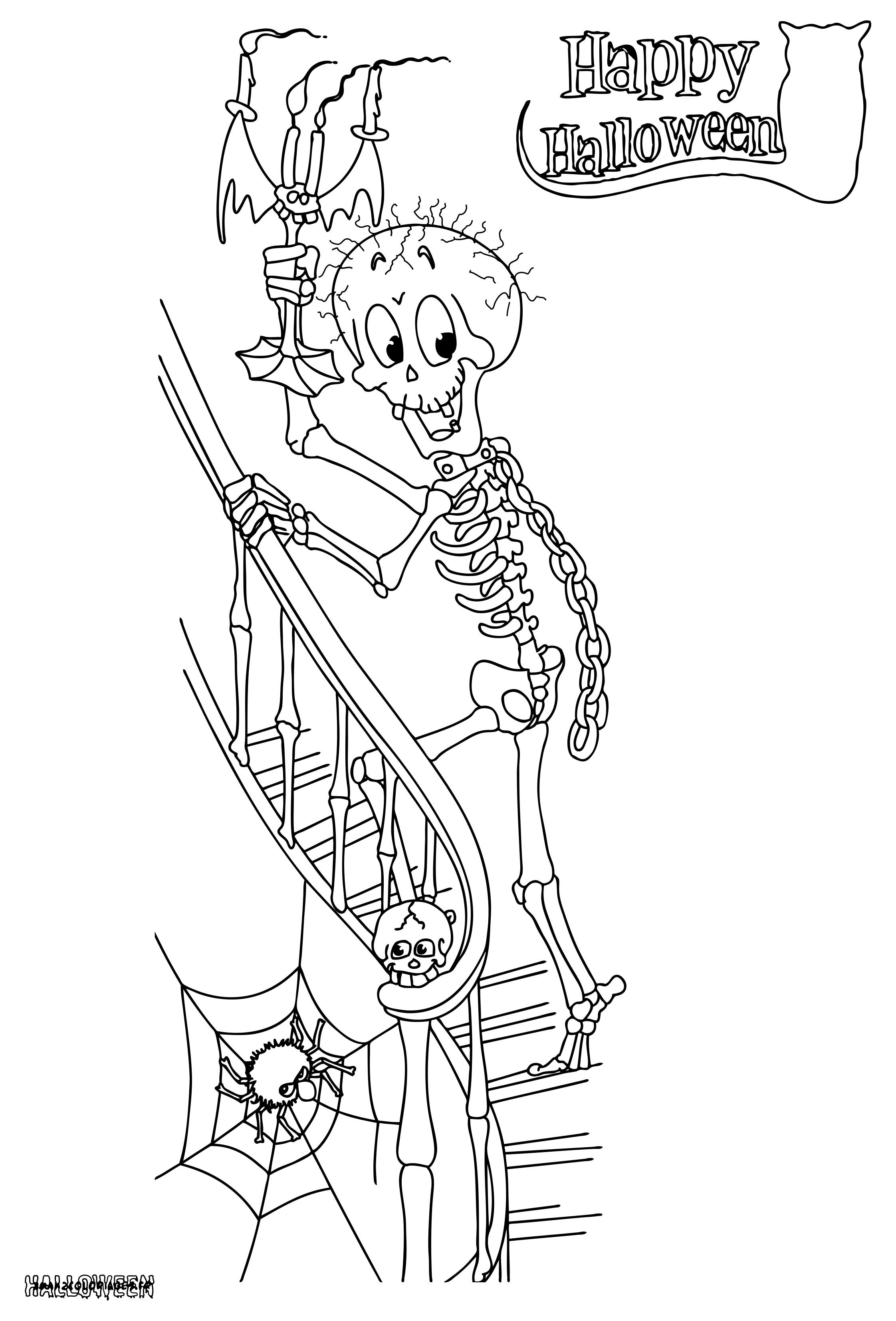Coloriages Des Squelettes Horribles Et Rigolos D'halloween A avec Squelette A Imprimer