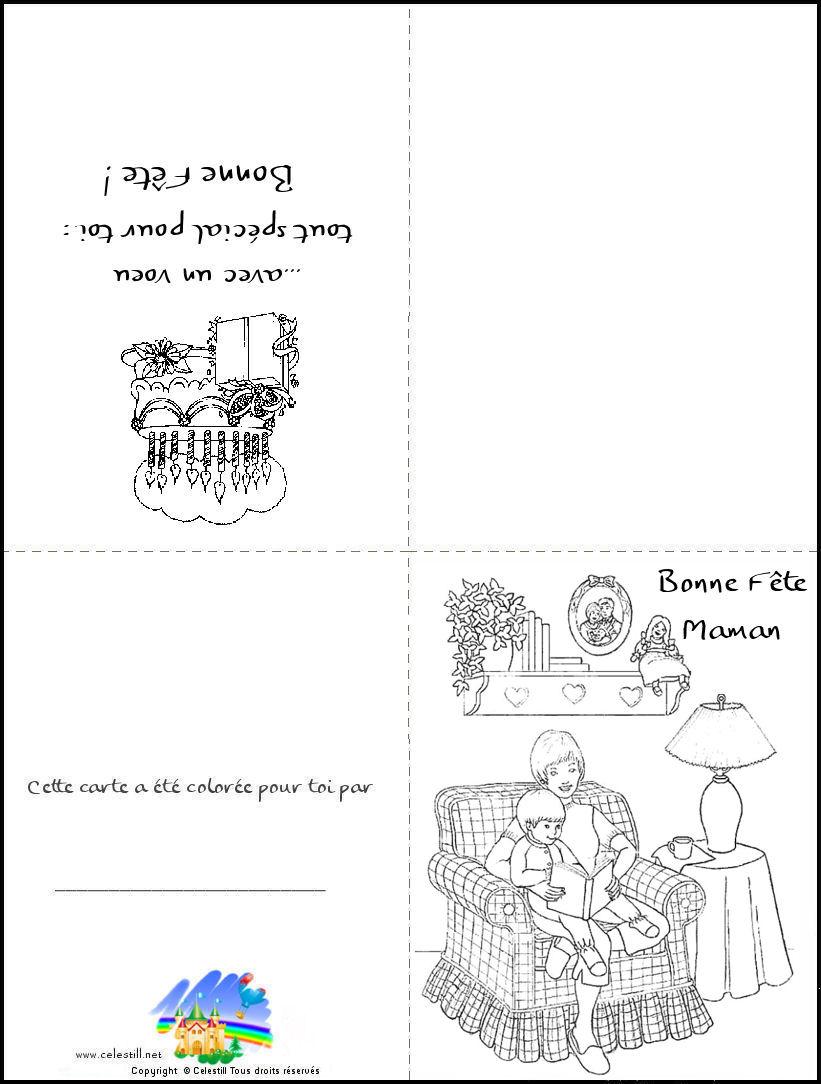 Coloriages Enfants - Carte À Imprimer Et À Colorier Bonne serapportantà Carte Bonne Fete Maman A Imprimer