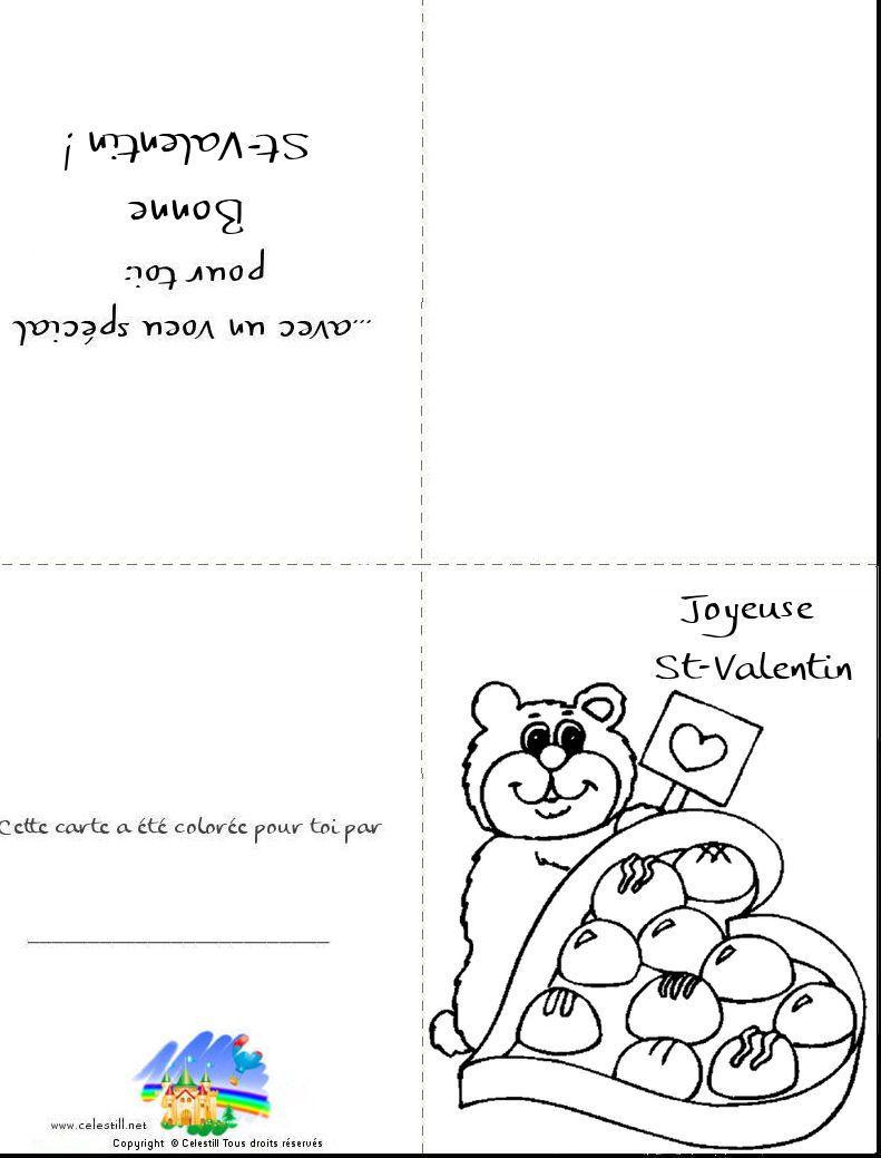 Coloriages St-Valentin - Carte À Imprimer Et À Colorier pour Coloriage De St Valentin