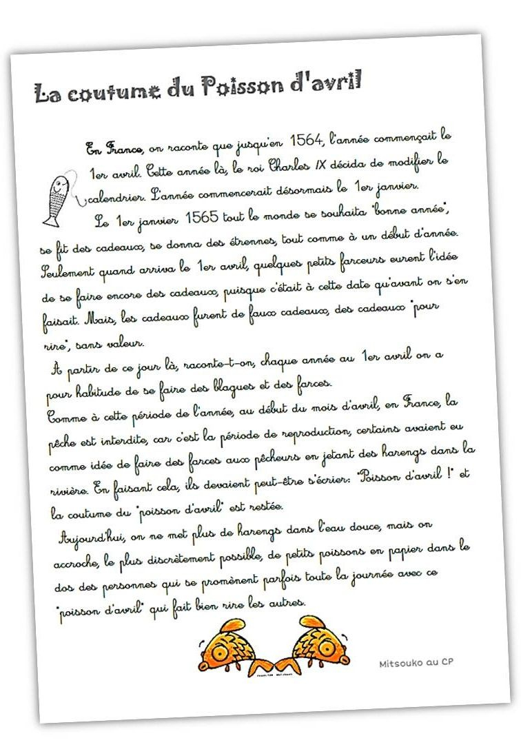Comme Un Poisson Dans L'dos ! | Apprentissage De La Langue dedans Mars De Maurice Careme A Imprimer