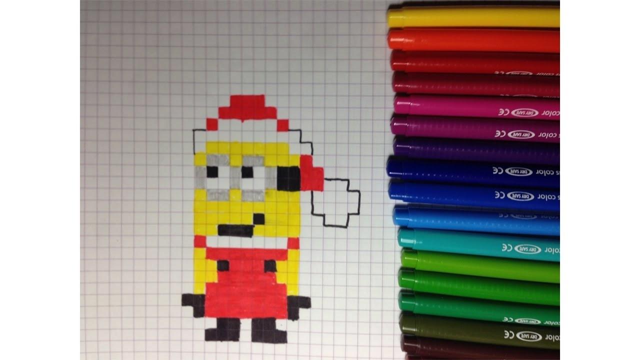 Comment Dessiner Un Minion Père Noël Pixel Art concernant Pixel Art Pere Noel