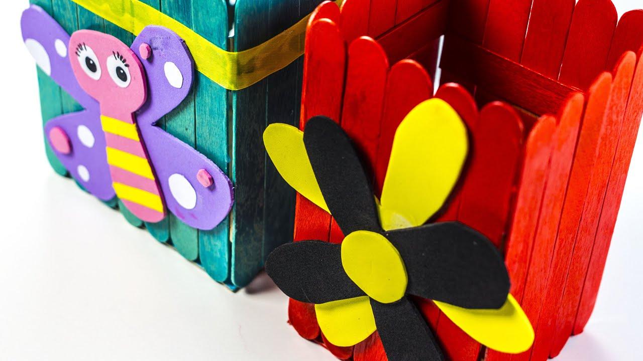 Comment Faire Une Boîte Décorative Avec Des Bâtons De Glace dedans Bricolage Avec Baton De Bois