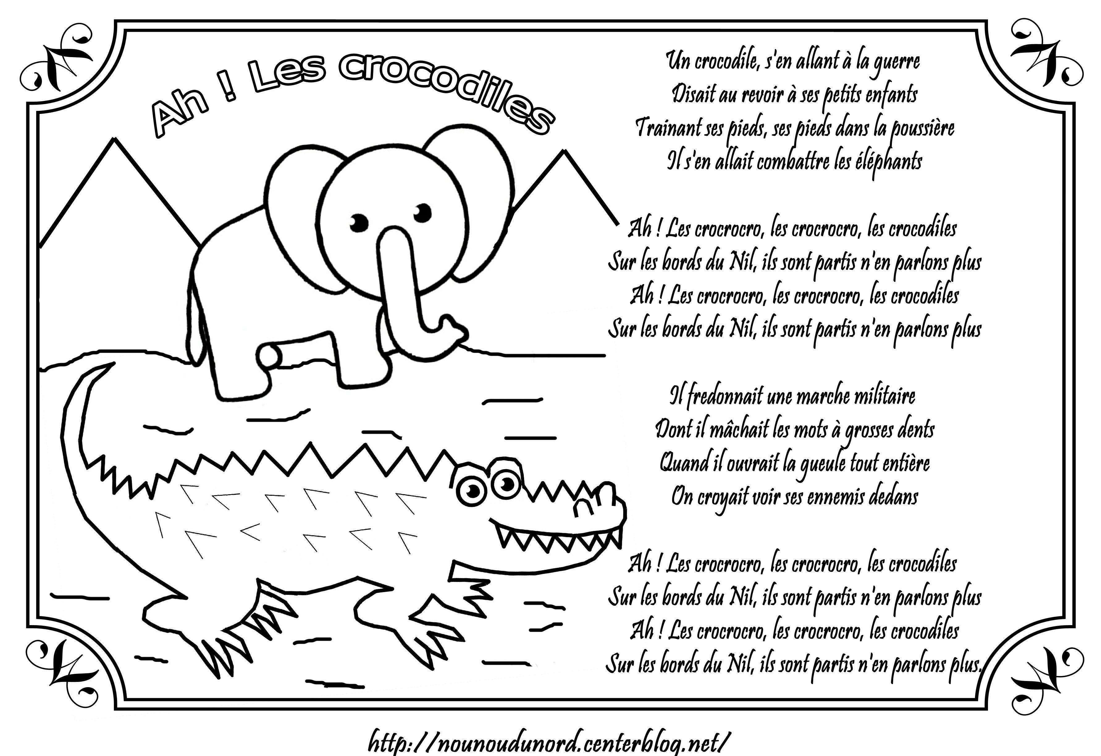 Comptine Ah! Les Crocodiles Illustrée Par Nounoudunord. serapportantà Photo De Crocodile A Imprimer