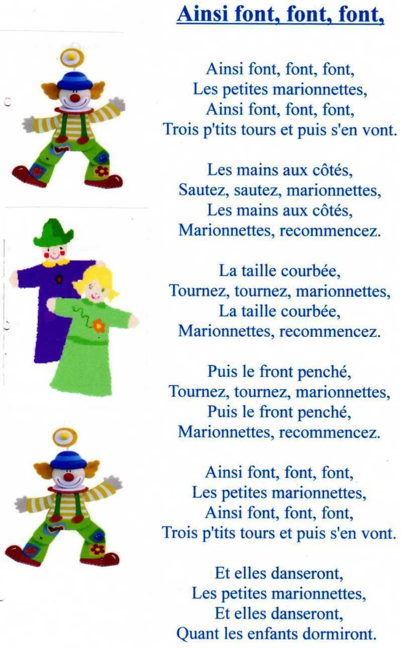 Comptine Ainsi Font, Font, Font intérieur Les Petites Marionnettes Chanson
