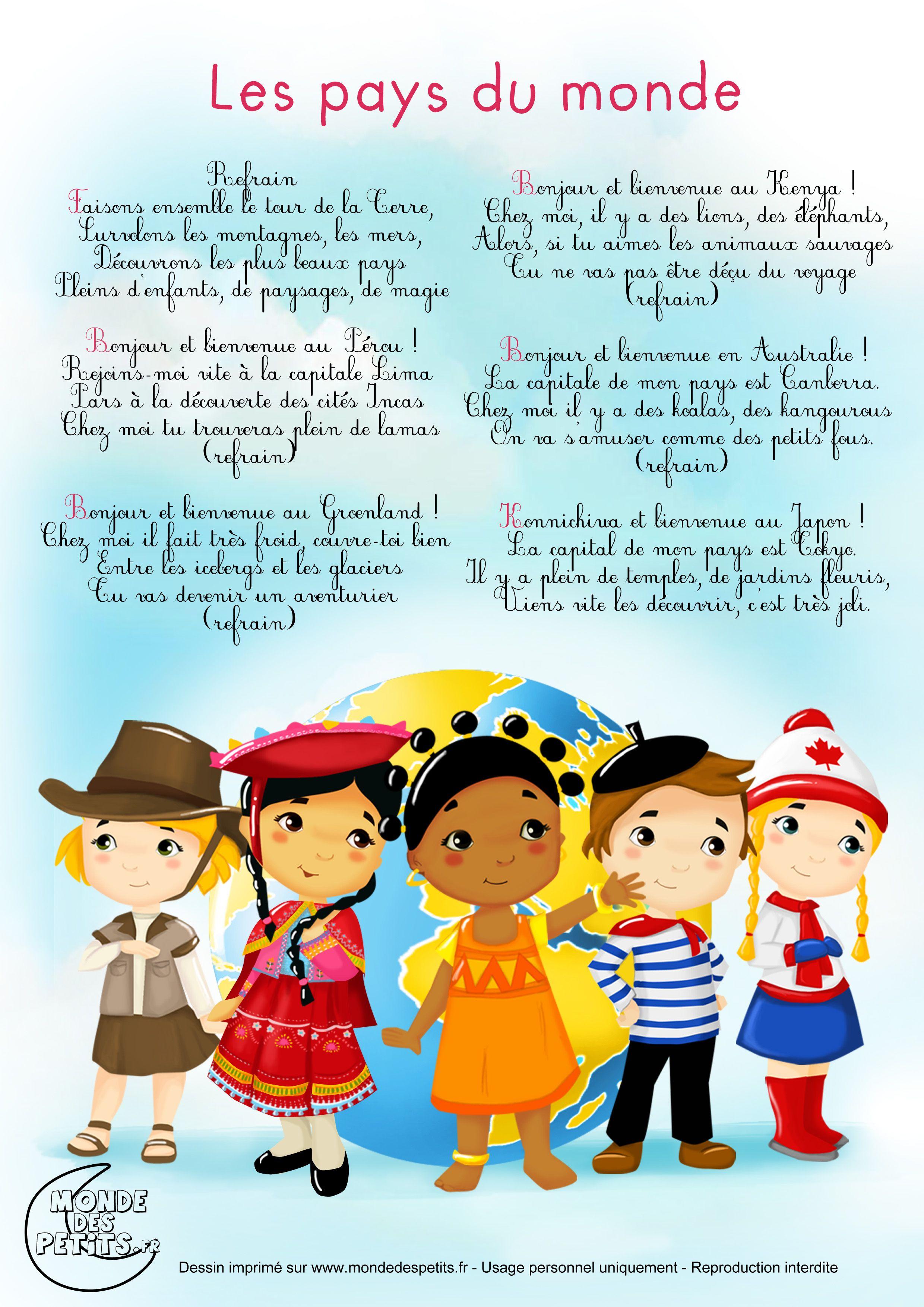 Comptine-Chanson-Enfant-Monde (2480×3508) | Comptines à Chanson Pense À Moi