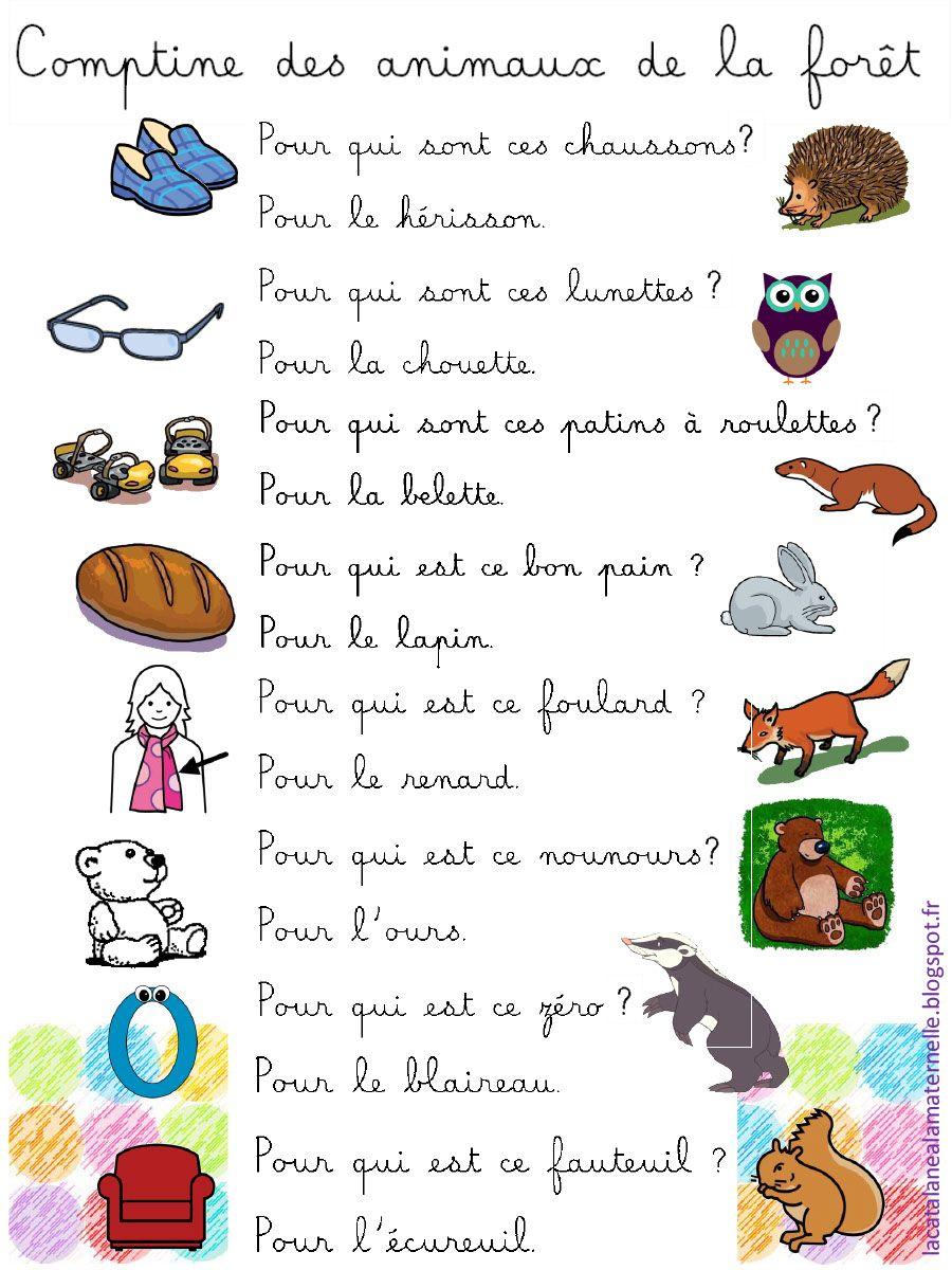 Comptine Des Animaux De La Forêt (1).pdf - Fichiers Partagés concernant Chanson Pour Les Animaux