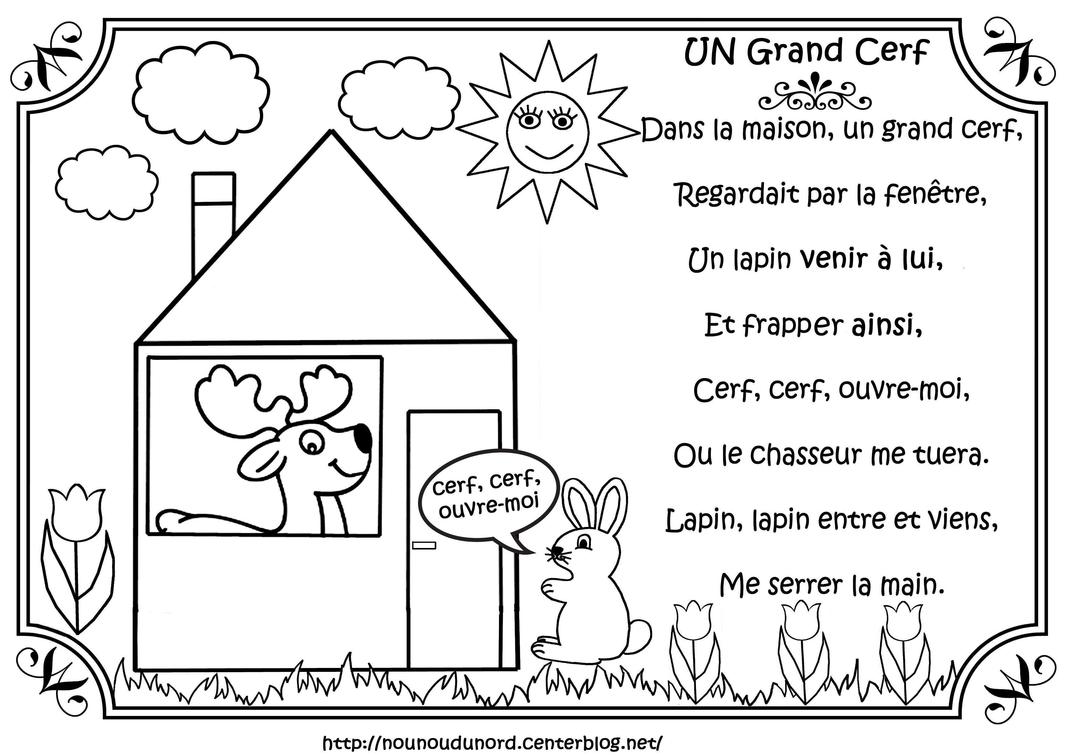 Comptine Le Grand Cerf Illustrée Par Nounoudunord. pour Chanson Du Cerf Et Du Lapin