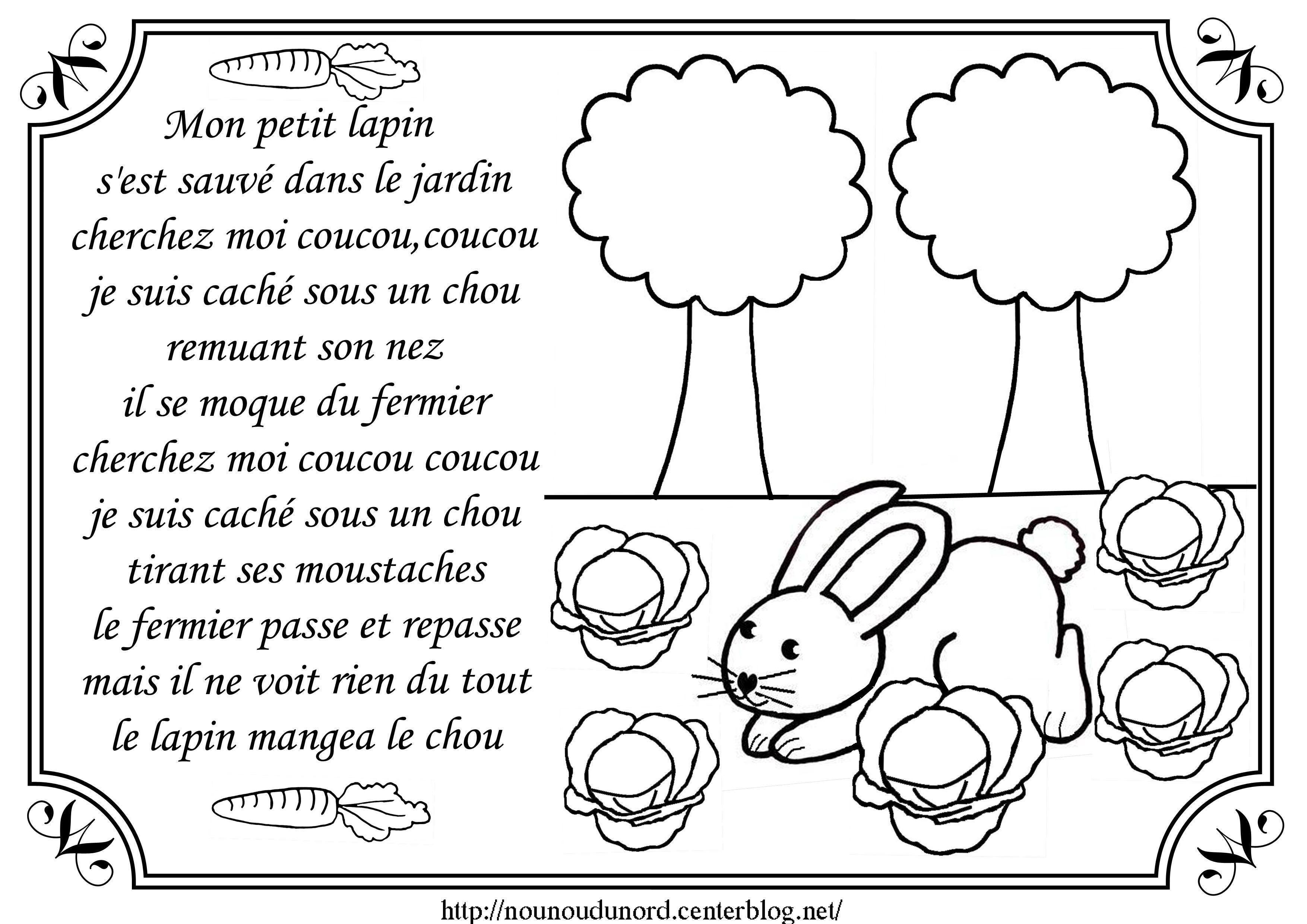 Comptine Mon Petit Lapin Illustrée Par Nounoudunord intérieur Chanson Enfant Lapin