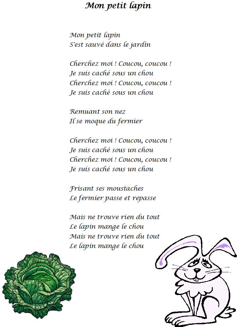Comptine Mon Petit Lapin - Paroles Illustrées De La Comptine destiné Chanson Enfant Lapin