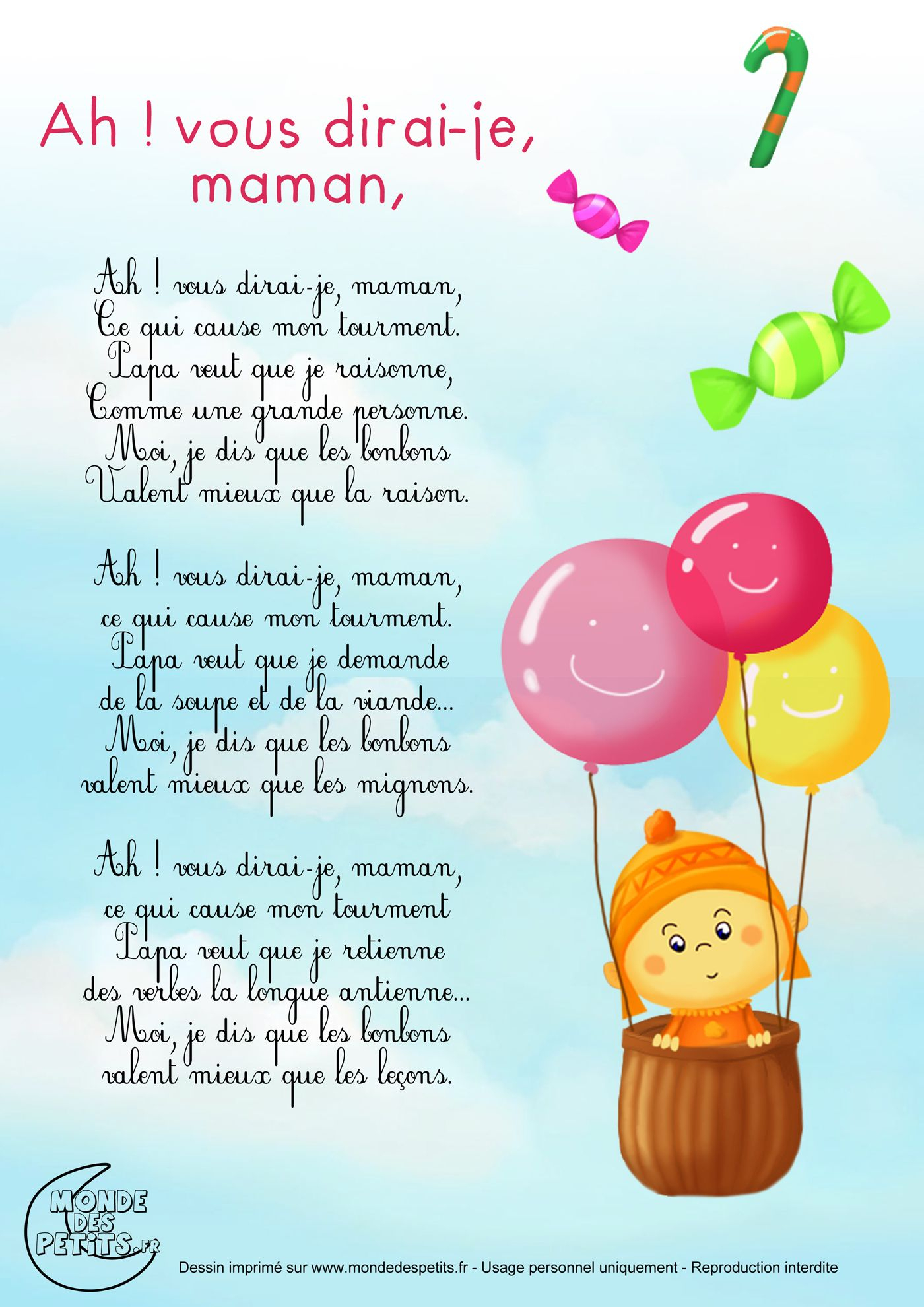 Comptine-Paroles-Maman 1 400 × 1 980 Pixels | Comptines à Chanson Pour Bebe 1 An