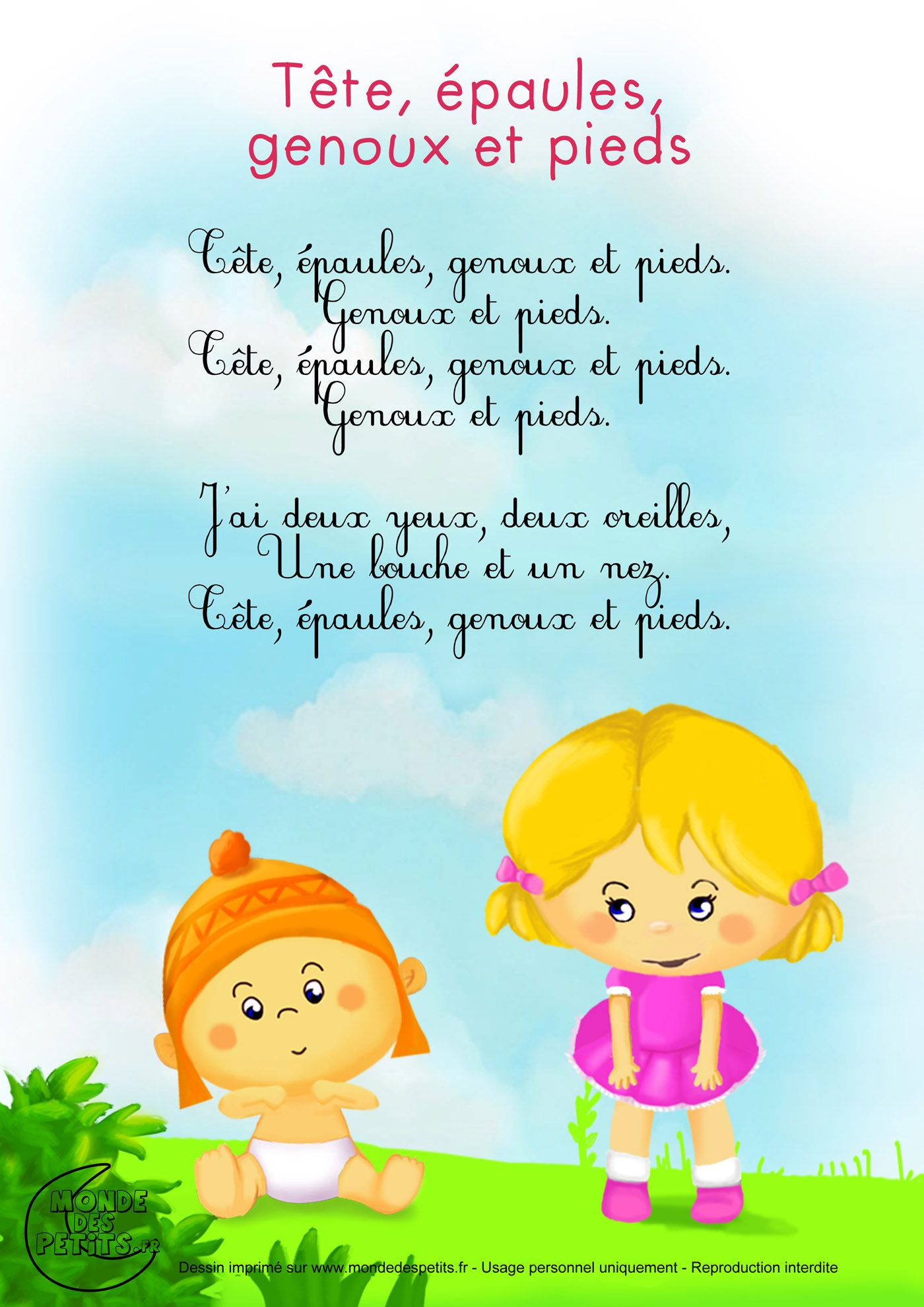 Comptine-Paroles-Tete-Epaule 1 400 × 1 980 Pixels serapportantà Chanson Pour Bebe 1 An