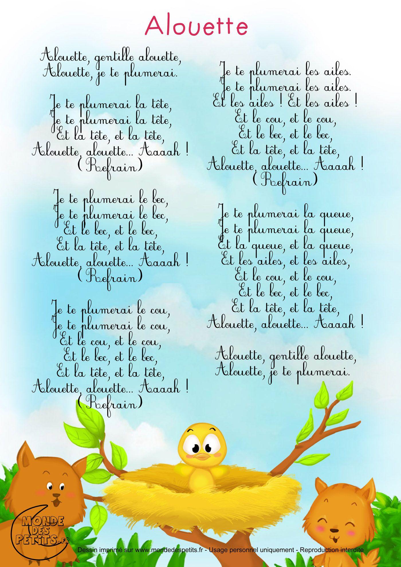 Comptine-Partition-Alouette-Gentille 1 400 × 1 980 pour Chanson Pour Bebe 1 An
