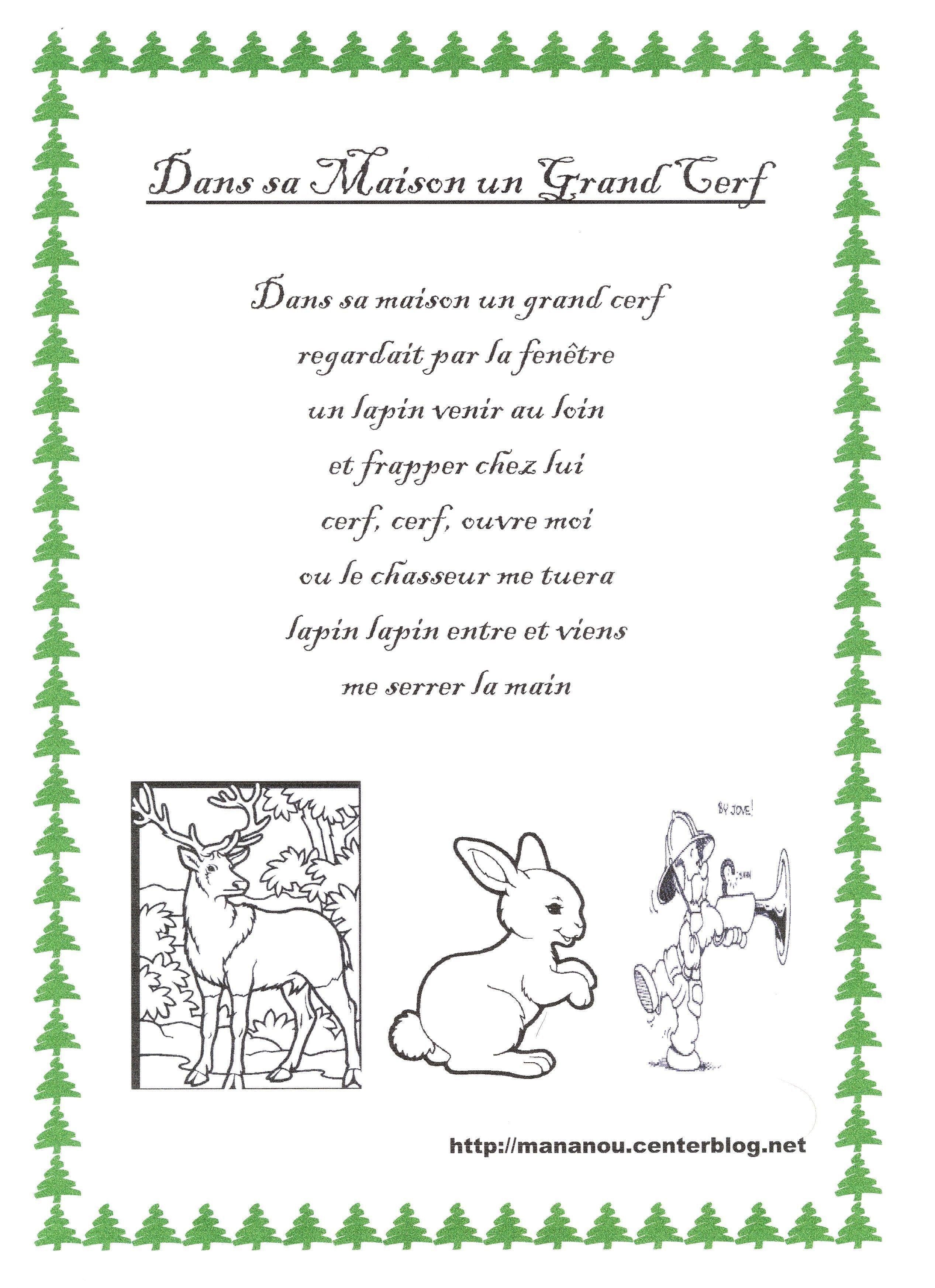 Comptine Sur Les Animaux - Page 4 dedans Chanson Du Cerf Et Du Lapin