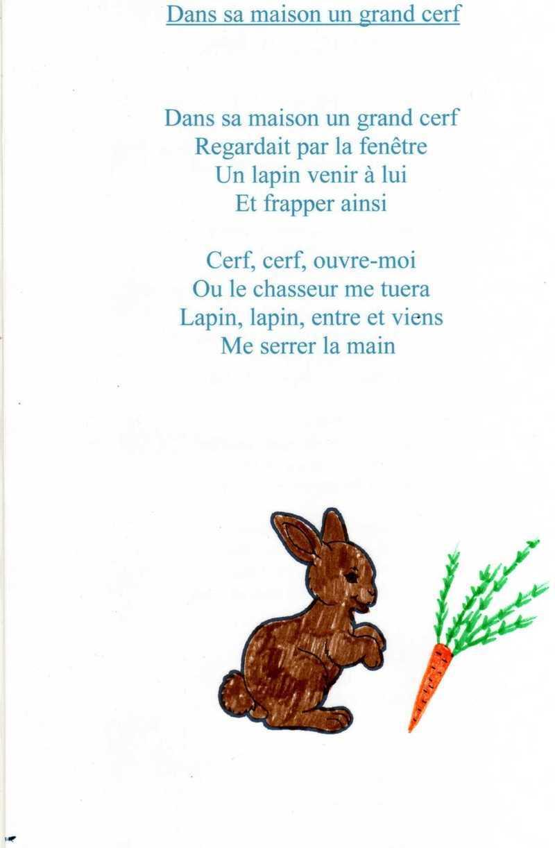Comptine Un Grand Cerf serapportantà Chanson Du Cerf Et Du Lapin