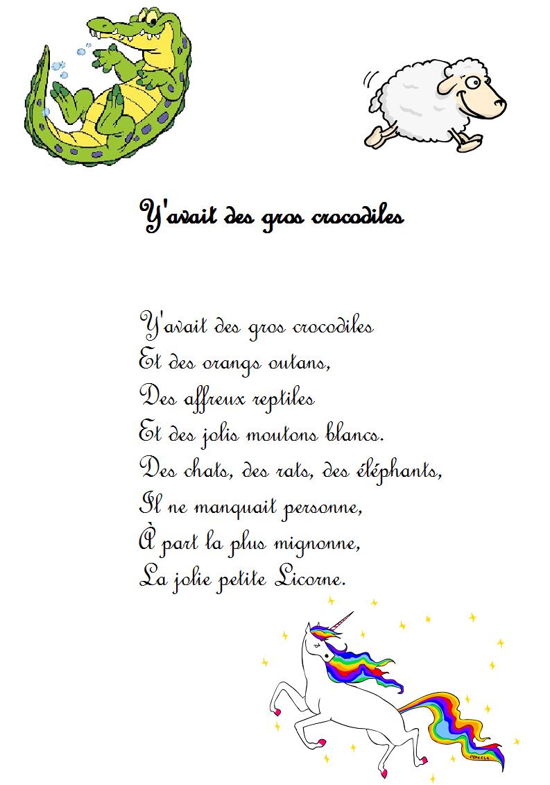 Comptine Y'avait Des Gros Crocodiles (La Licorne) - Paroles tout Chanson A Imprimer