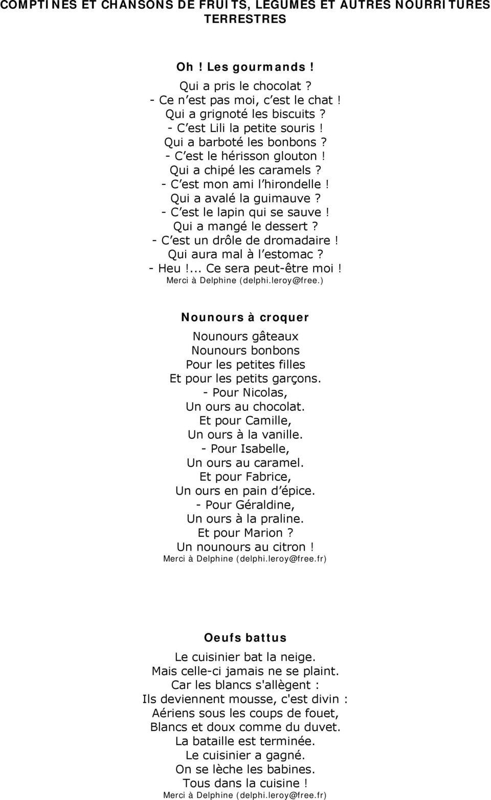 Comptines Et Chansons De Fruits, Legumes Et Autres concernant Chanson Sur Les Fruits Et Légumes