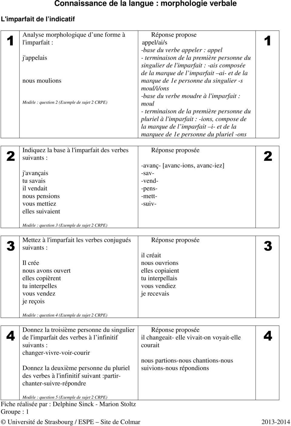 Connaissance De La Langue : Morphologie Verbale - Pdf à Verbe Moudre À L Imparfait