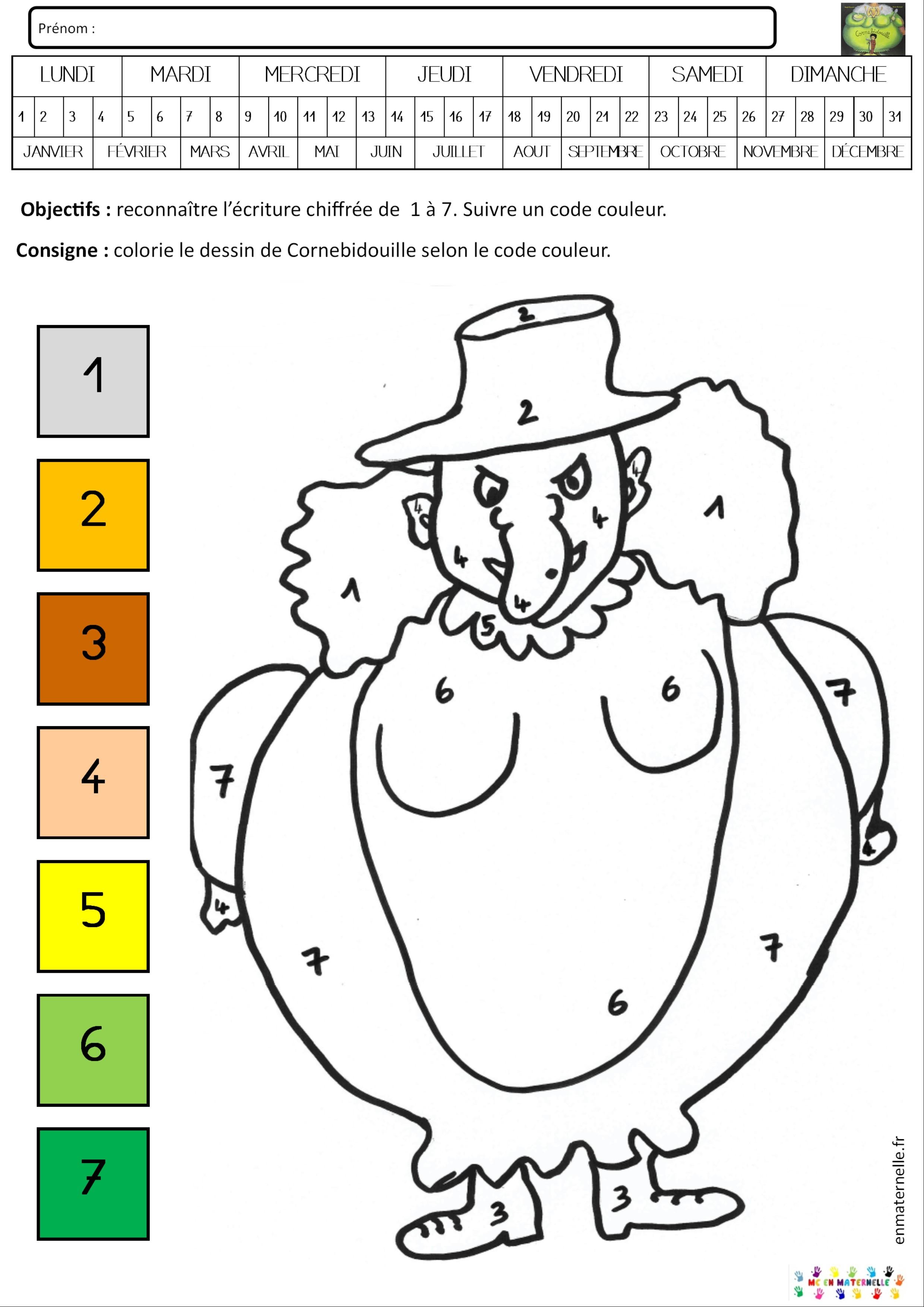 Cornebidouille : Coloriage Magique De 1 À 7 – Mc En Maternelle intérieur Coloriage Février