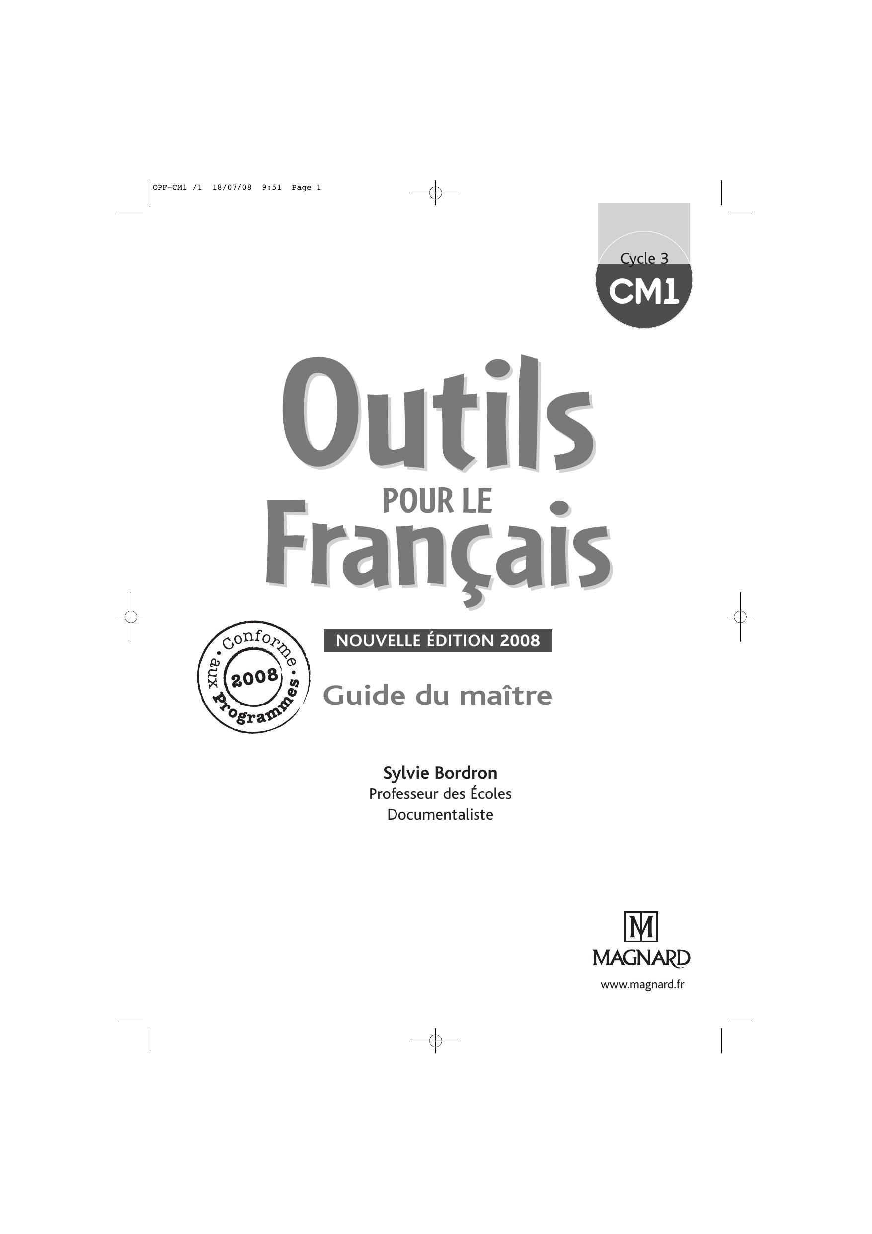 Corrigés Des Exercices - Outils Pour Le Français Cm1 pour Exercice Cm2 Gratuit