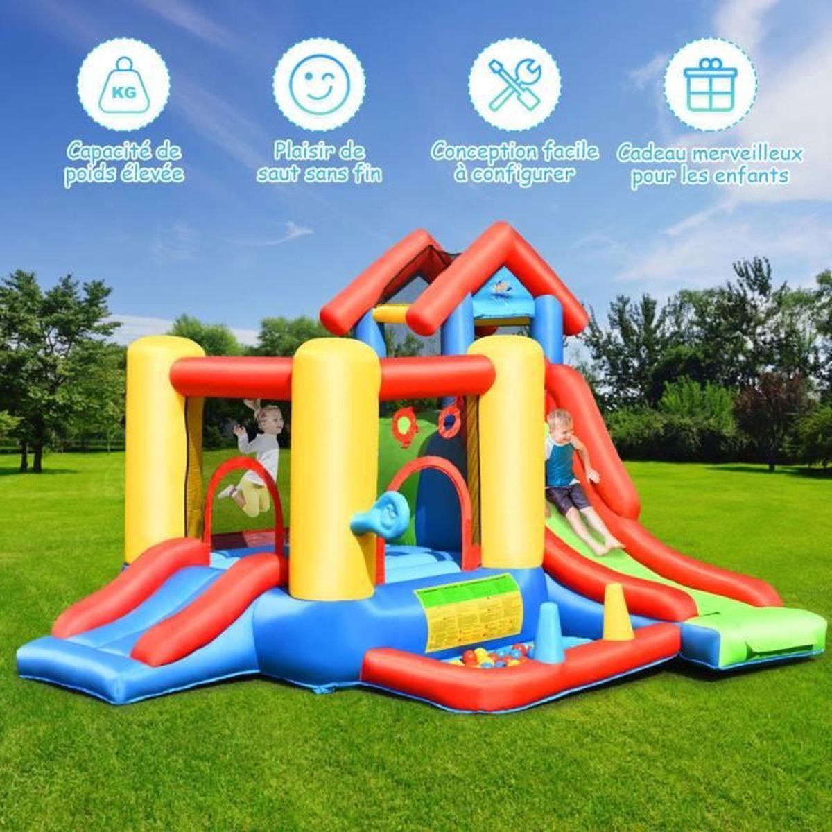 Costway 7 En 1 Château Gonflable Pour 5 Enfants Plus De 3 Ans Avec  Toboggan,30 Ballons 300X360X235Cm Charge Max 135Kg Extérieur avec Jeux Pour Enfant De 3 Ans