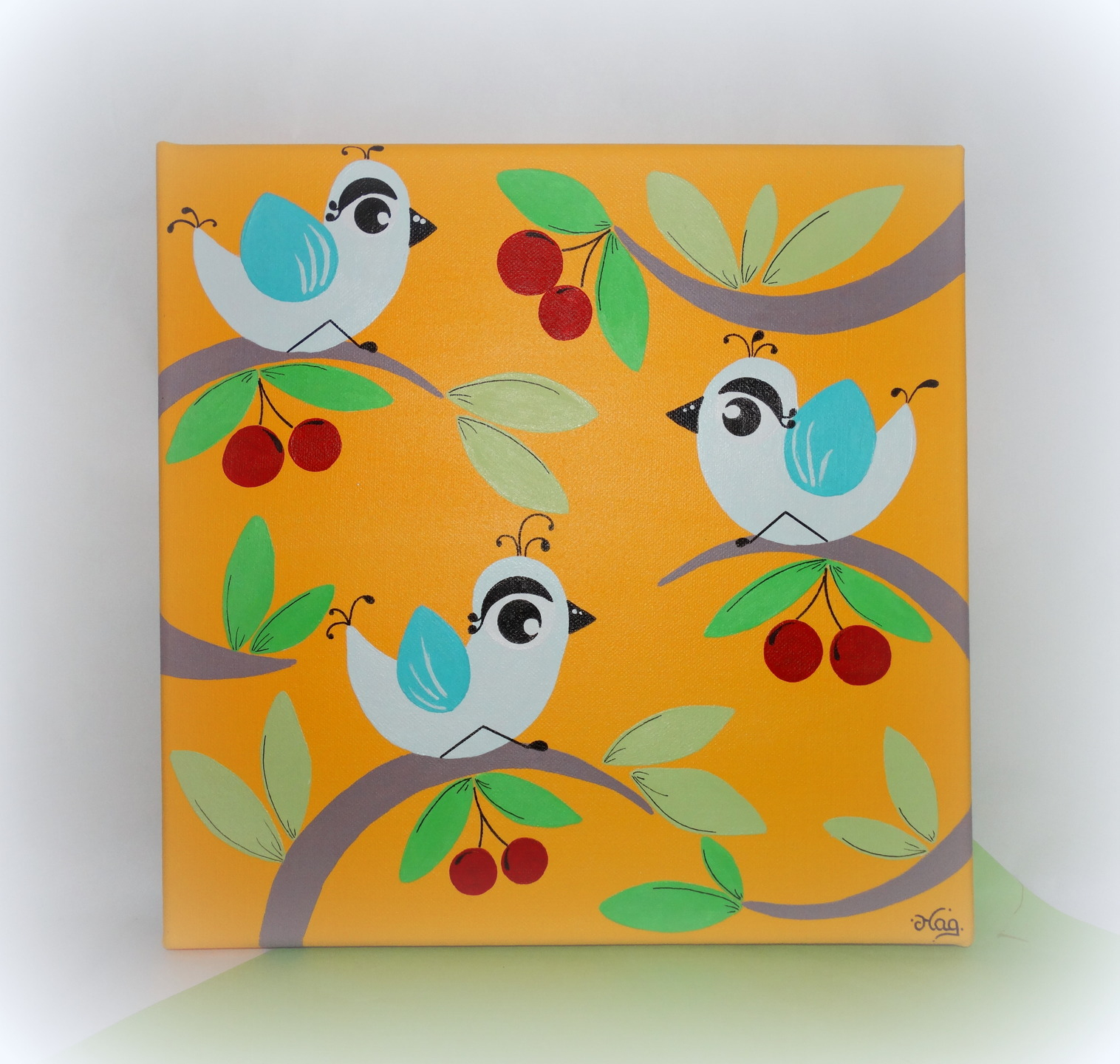 Cuisine: Peinture Pour Enfant Oiseau Cerises Toile Pour encequiconcerne Tableau De Peinture Pour Enfant