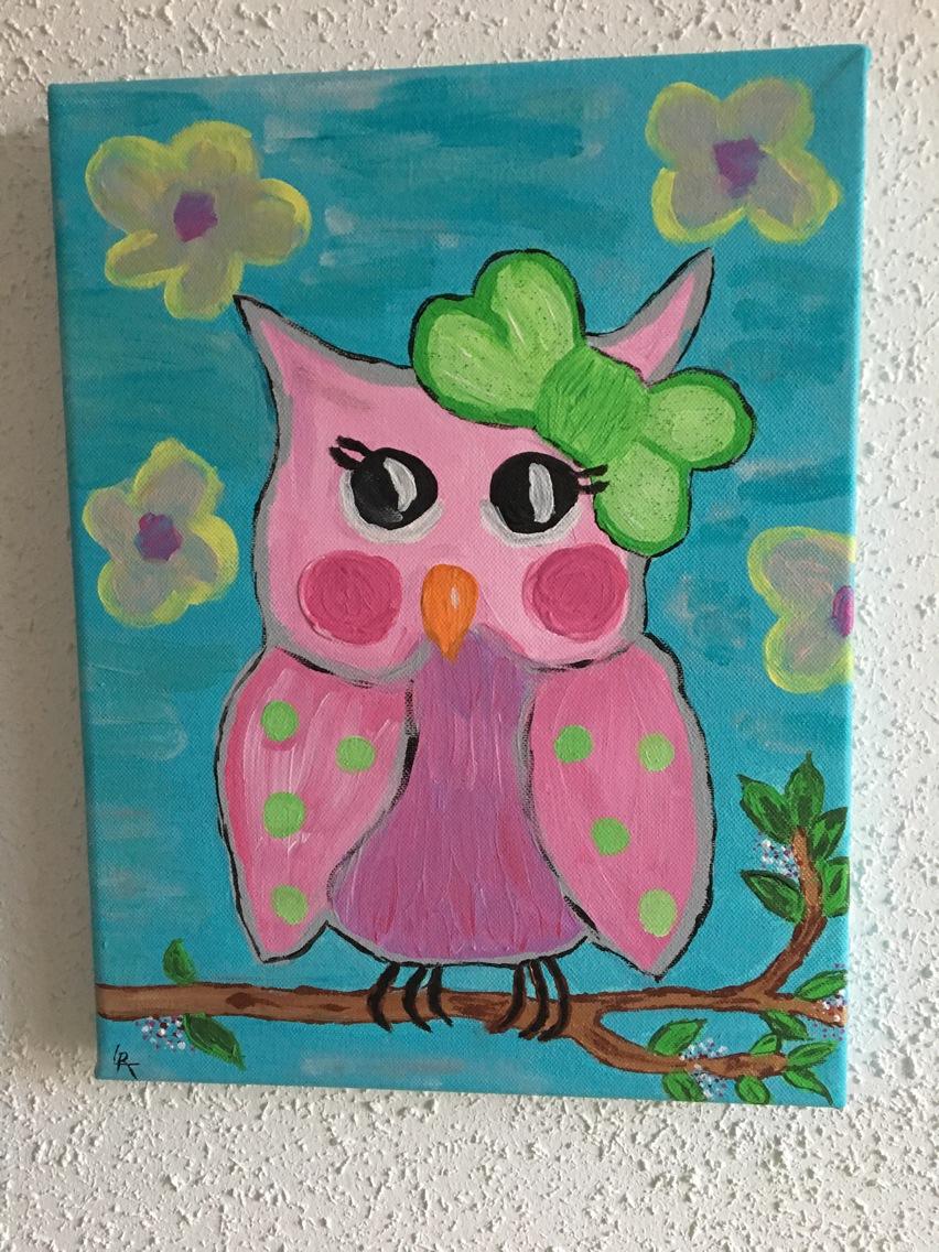 Cuisine: Tableau Pour Enfant Peinture Acrylique Hibou Colorã tout Tableau De Peinture Pour Enfant