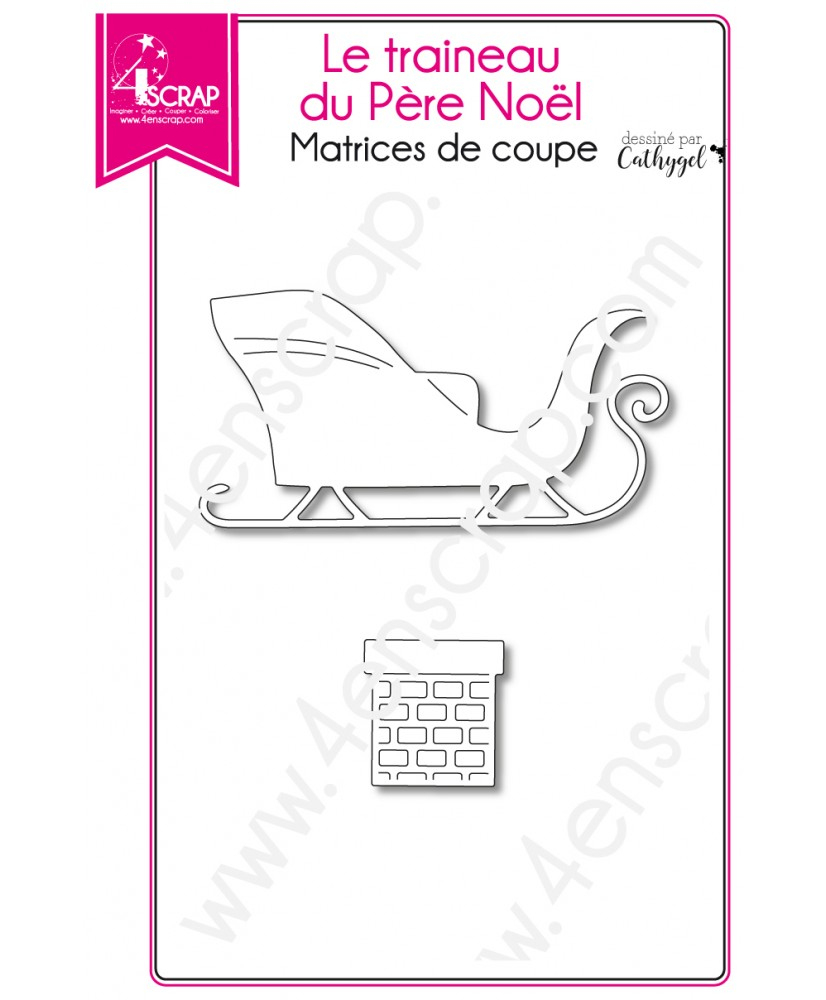 Cutting Die Scrapbooking Card Making Fireplace Gift - The avec Image De Traineau Du Pere Noel