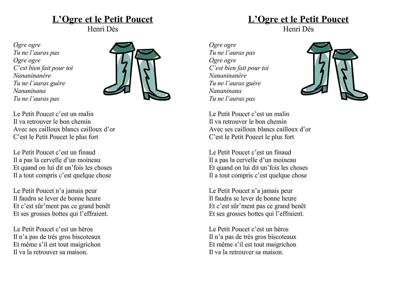 Cycle 2 : Musique : Texte Chanson Le Petit Poucet D'henri serapportantà Musique Cycle 2