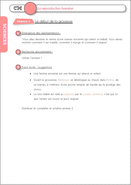 Cycle 3 : La Reproduction Humaine | Humain, Science Et pour Leçon Respiration Cm1
