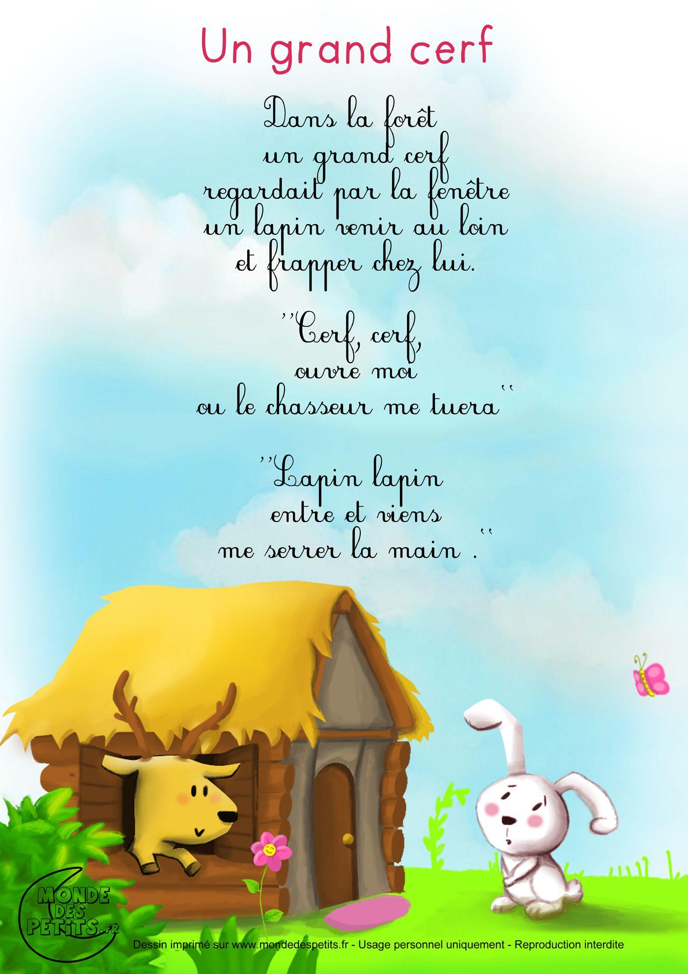 Dans La Forêt Un Grand Cerf Vit Un Jour Venir À Lui Un Tout serapportantà Chanson Enfant Lapin