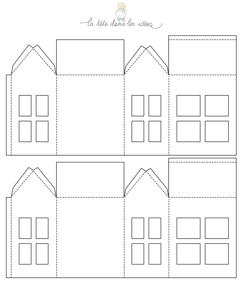 Deco Noel Maison Papier   Maisons En Papier, Maison De Noel tout Patron De Maison En Papier A Imprimer