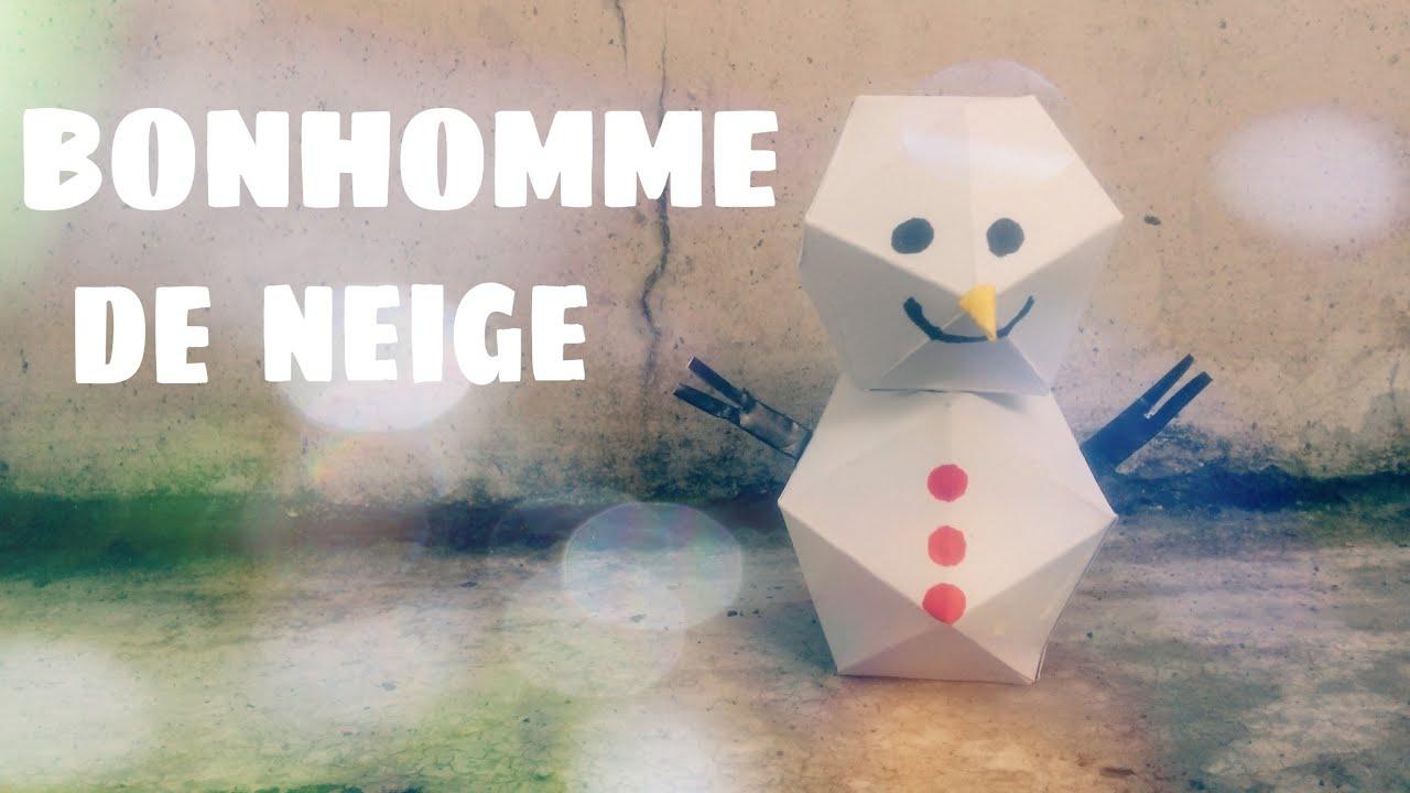 Décoration De Noël - Fabriquer Un Bonhomme De Neige En Papier serapportantà Origami Bonhomme De Neige