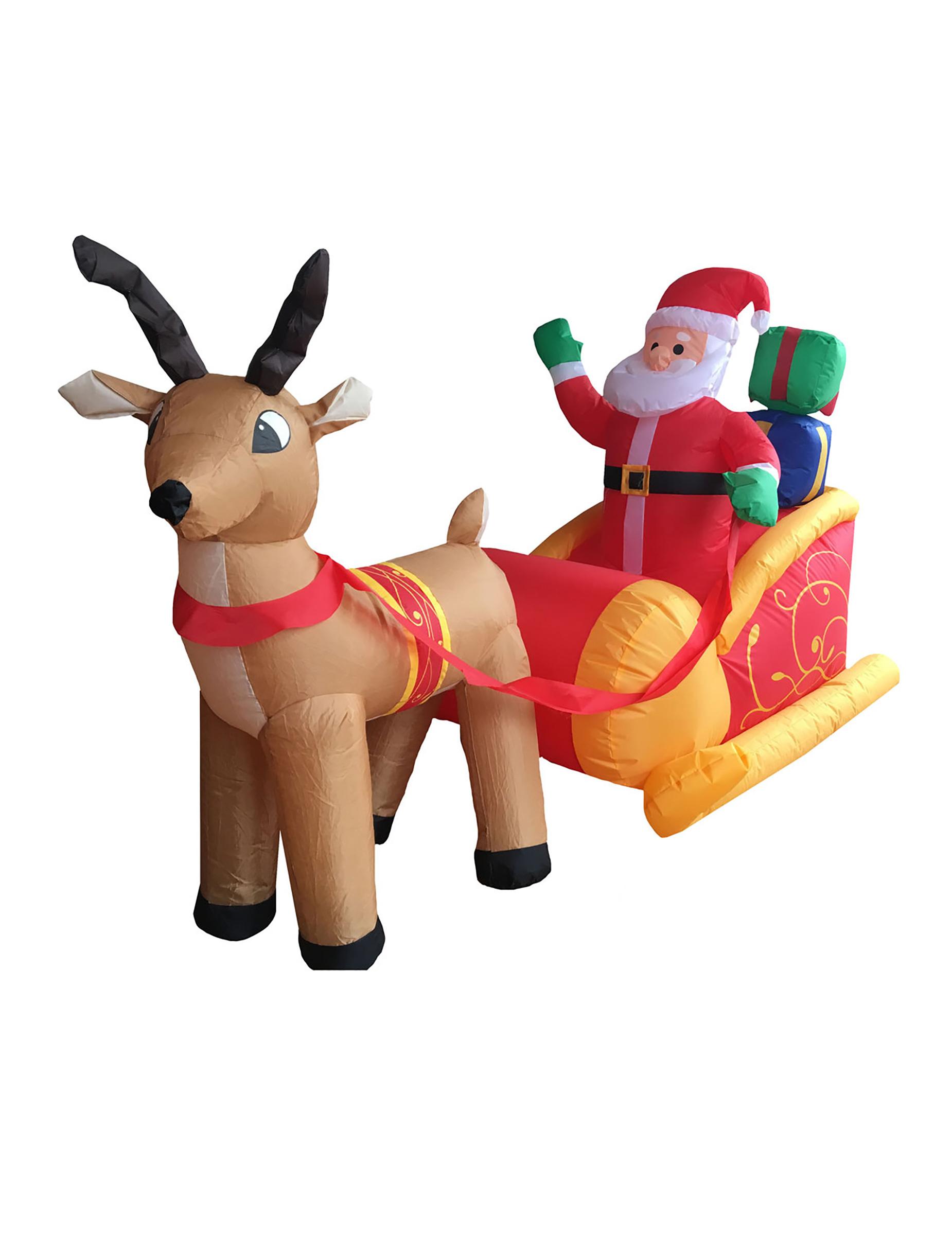 Décoration Père Noël Sur Son Traîneau Gonflable Et Lumineux 180 Cm Noël pour Image De Traineau Du Pere Noel