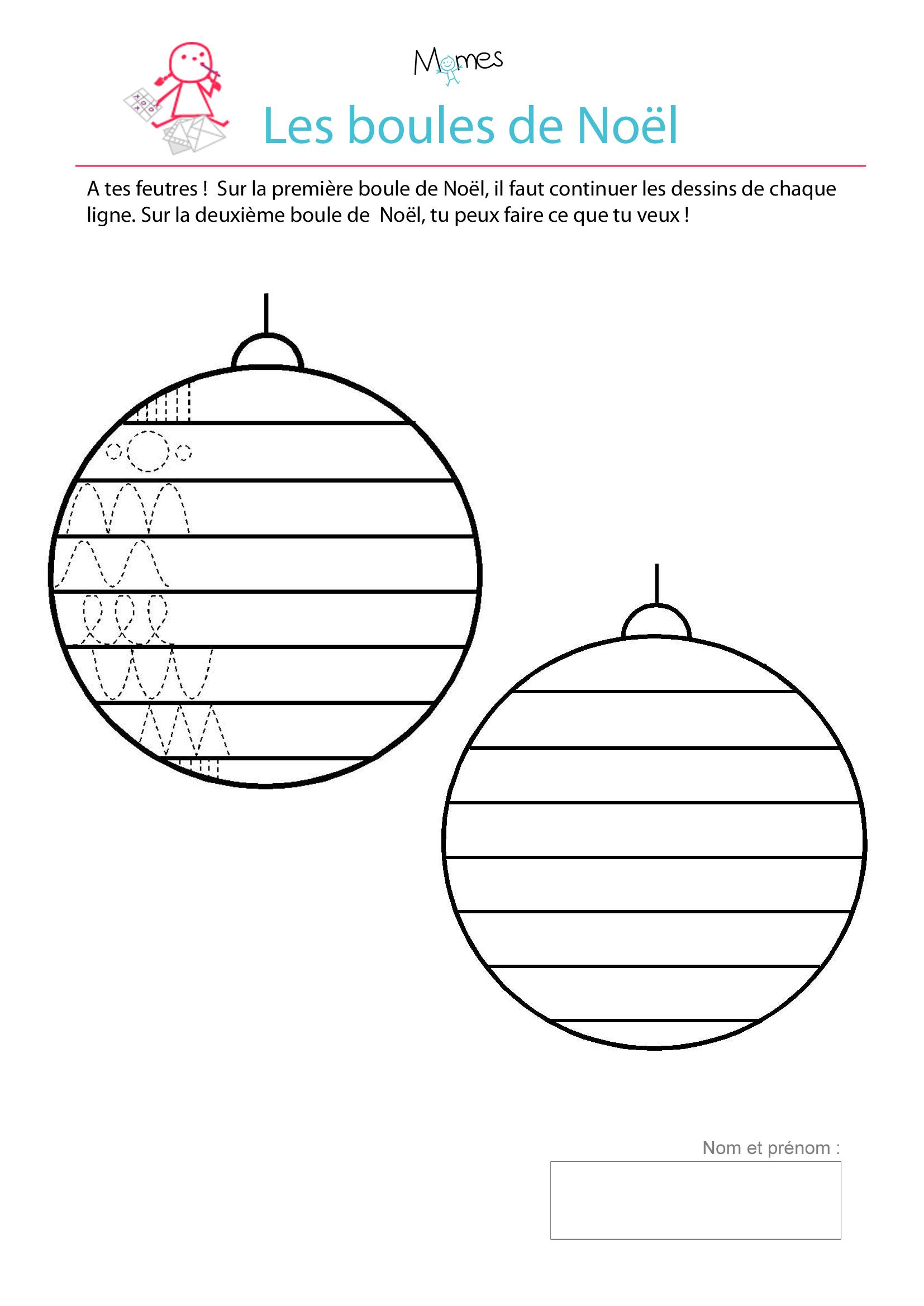Décore Les Boules De Noël - Exercice De Tracé - Momes concernant Fiche D Exercice Grande Section A Imprimer