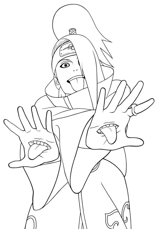 Deidara De Naruto Shippuden à Coloriage De Naruto Shippuden A Imprimer