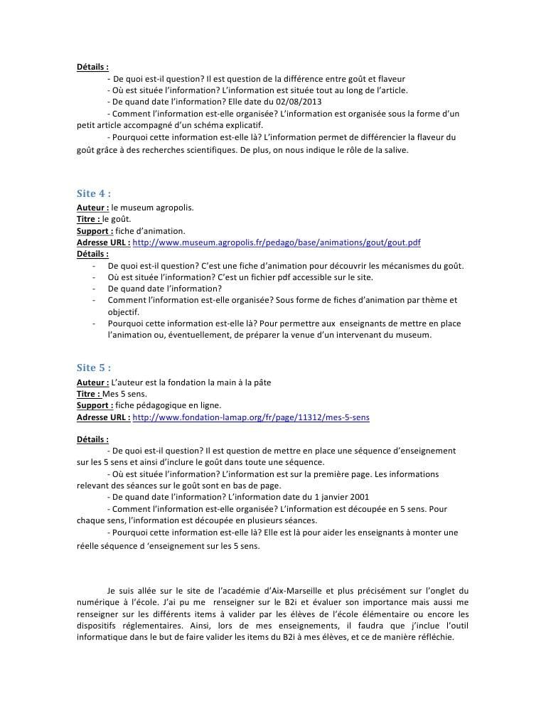 Demonchy Noémie Sitographie Goût Par Chloé - Fichier Pdf tout Fiche Pédagogique Les 5 Sens