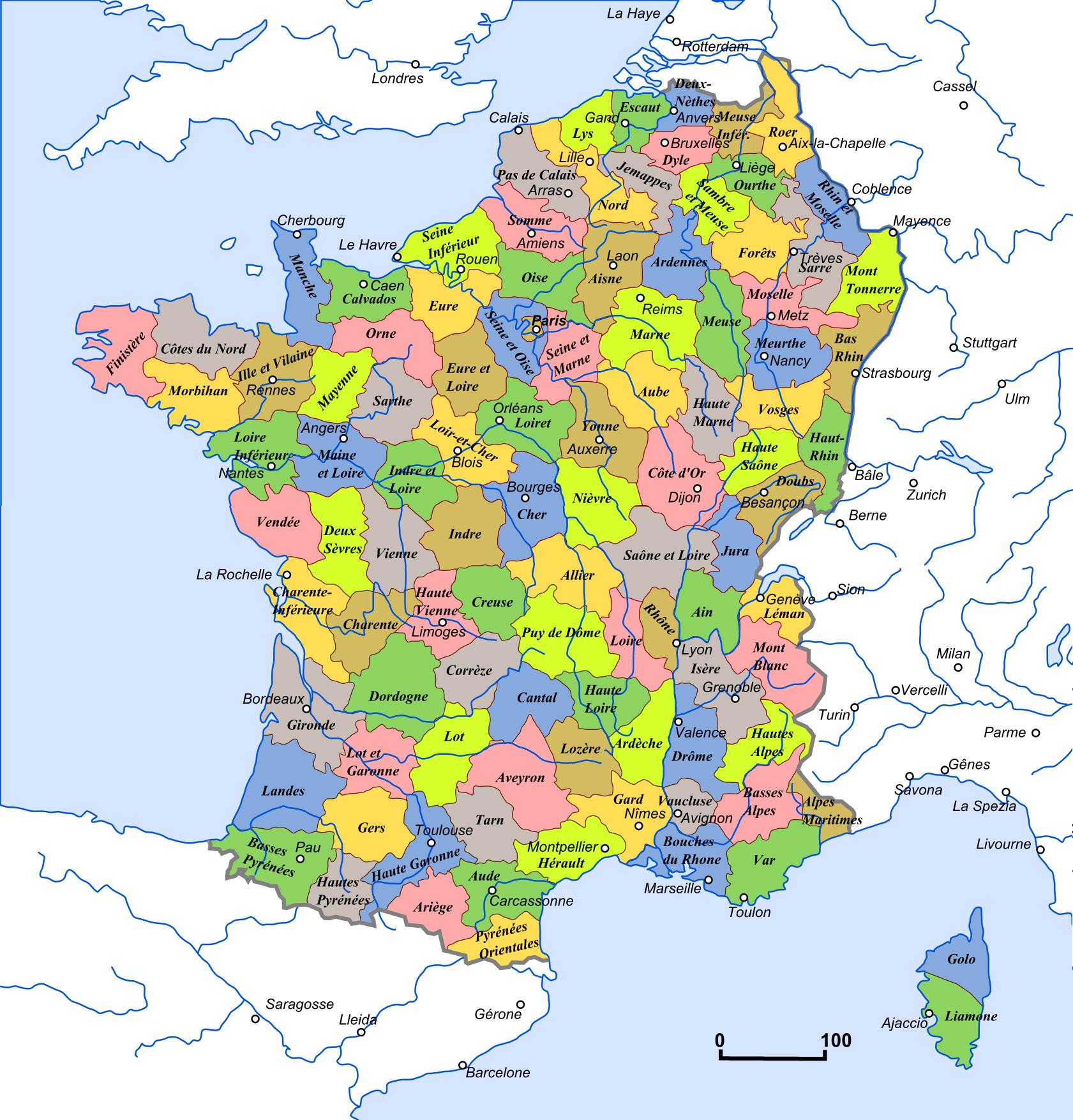 Départements Depuis 1790 destiné Carte Numero Departement